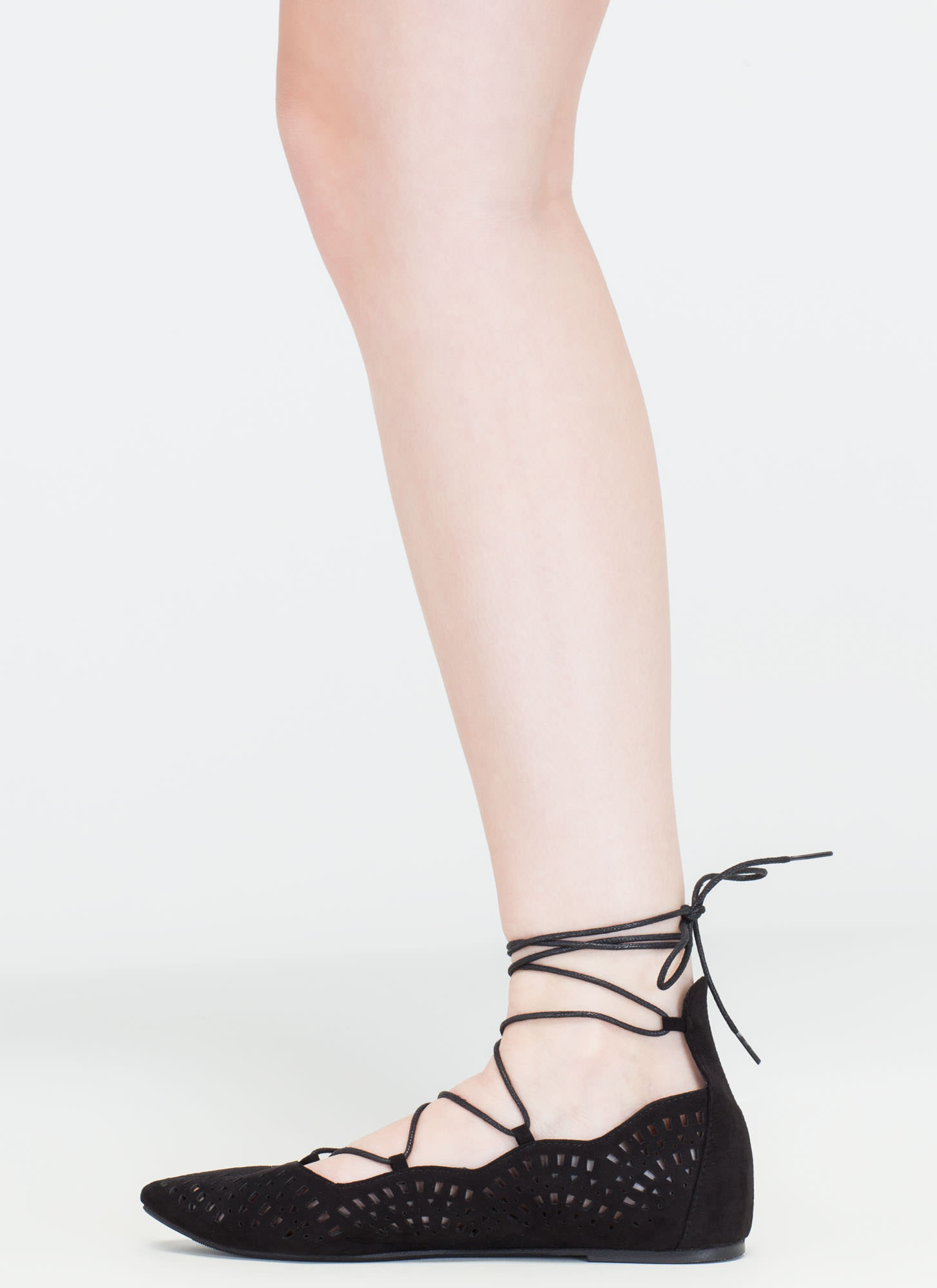 Downtown Daytrip Cut-Out Lace-Up Flats BLACK