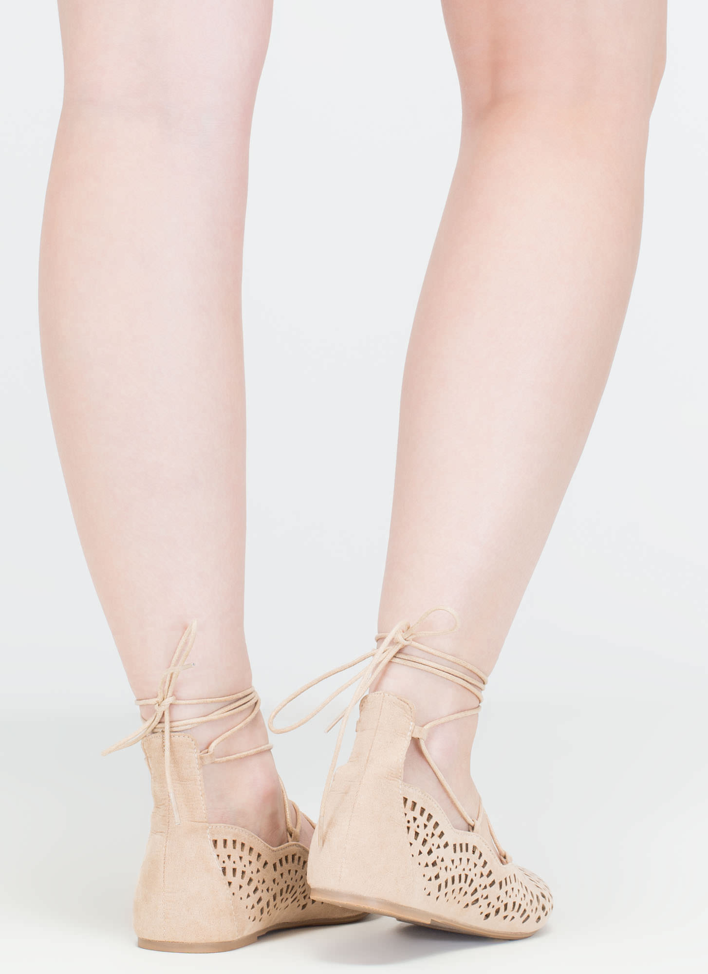 Downtown Daytrip Cut-Out Lace-Up Flats NATURAL