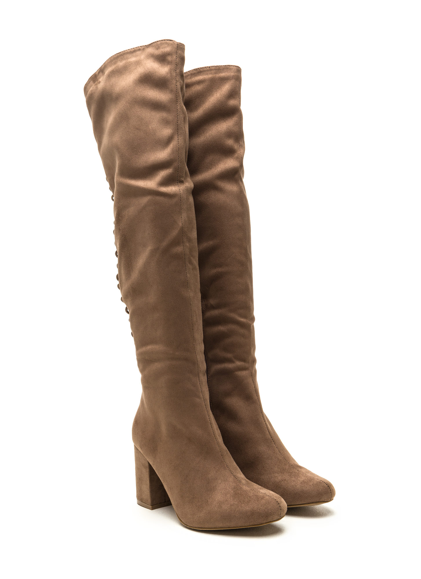Hit Reverse Lace-Up Block Heel Boots TAUPE