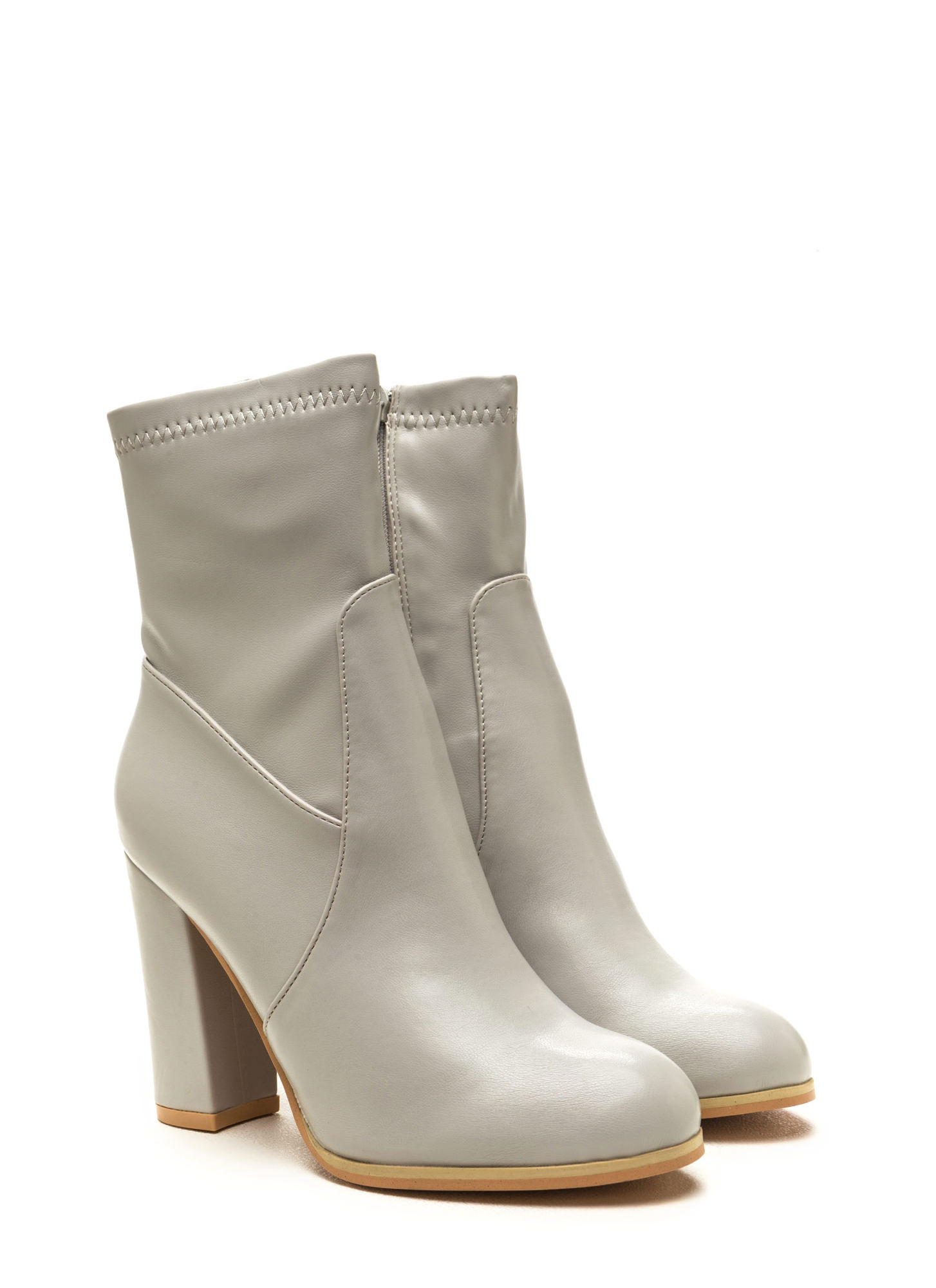 Swaggy Strut Chunky Faux Leather Booties LTGREY