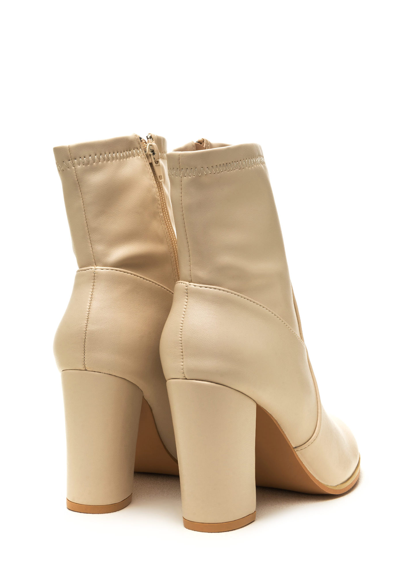 Swaggy Strut Chunky Faux Leather Booties NUDE