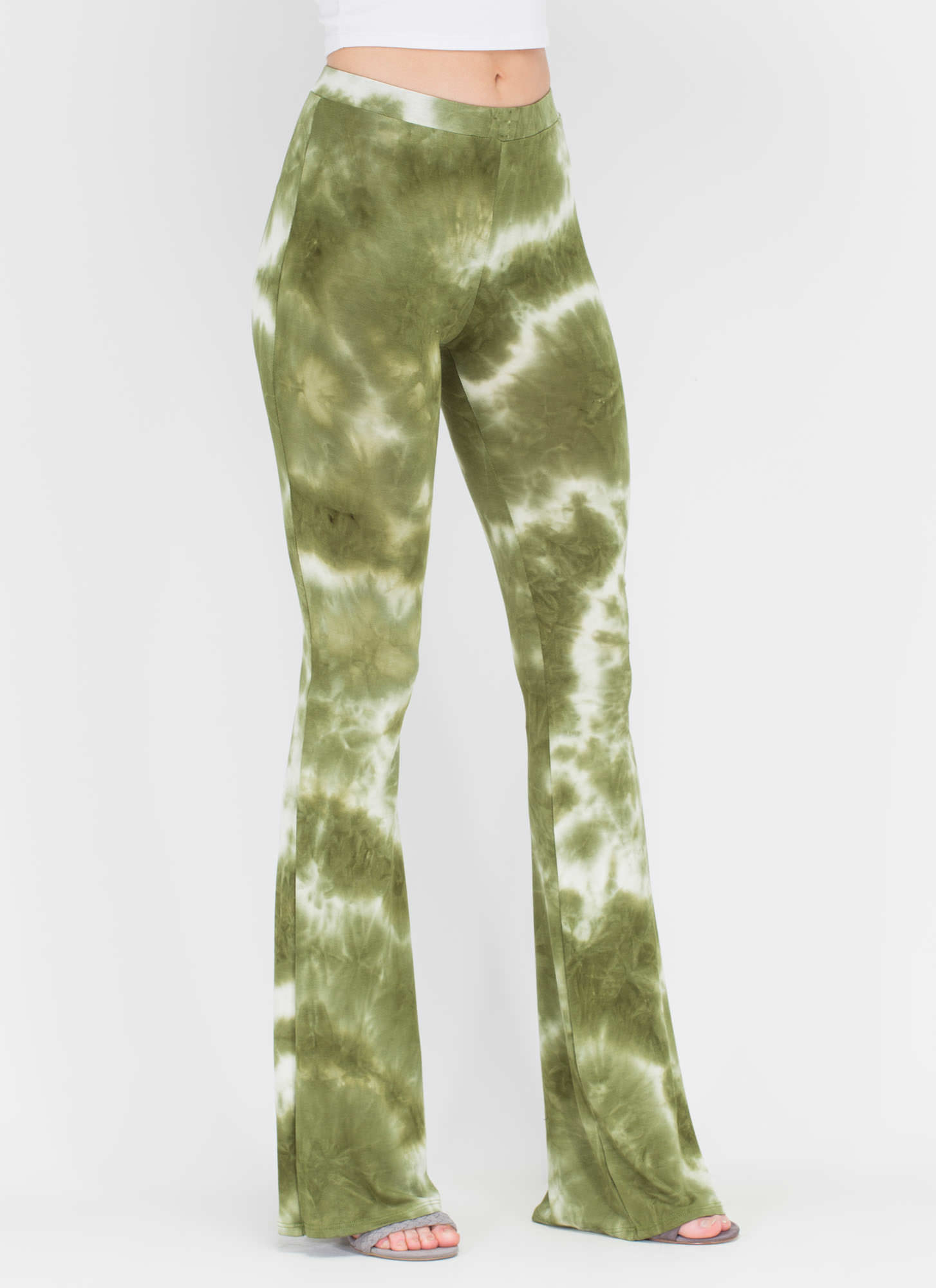 Colorful Creation Flared Tie-Dye Pants OLIVE