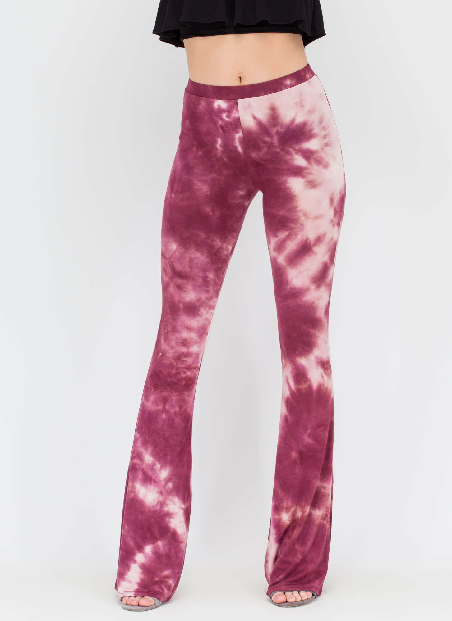 Colorful Creation Flared Tie-Dye Pants WINE