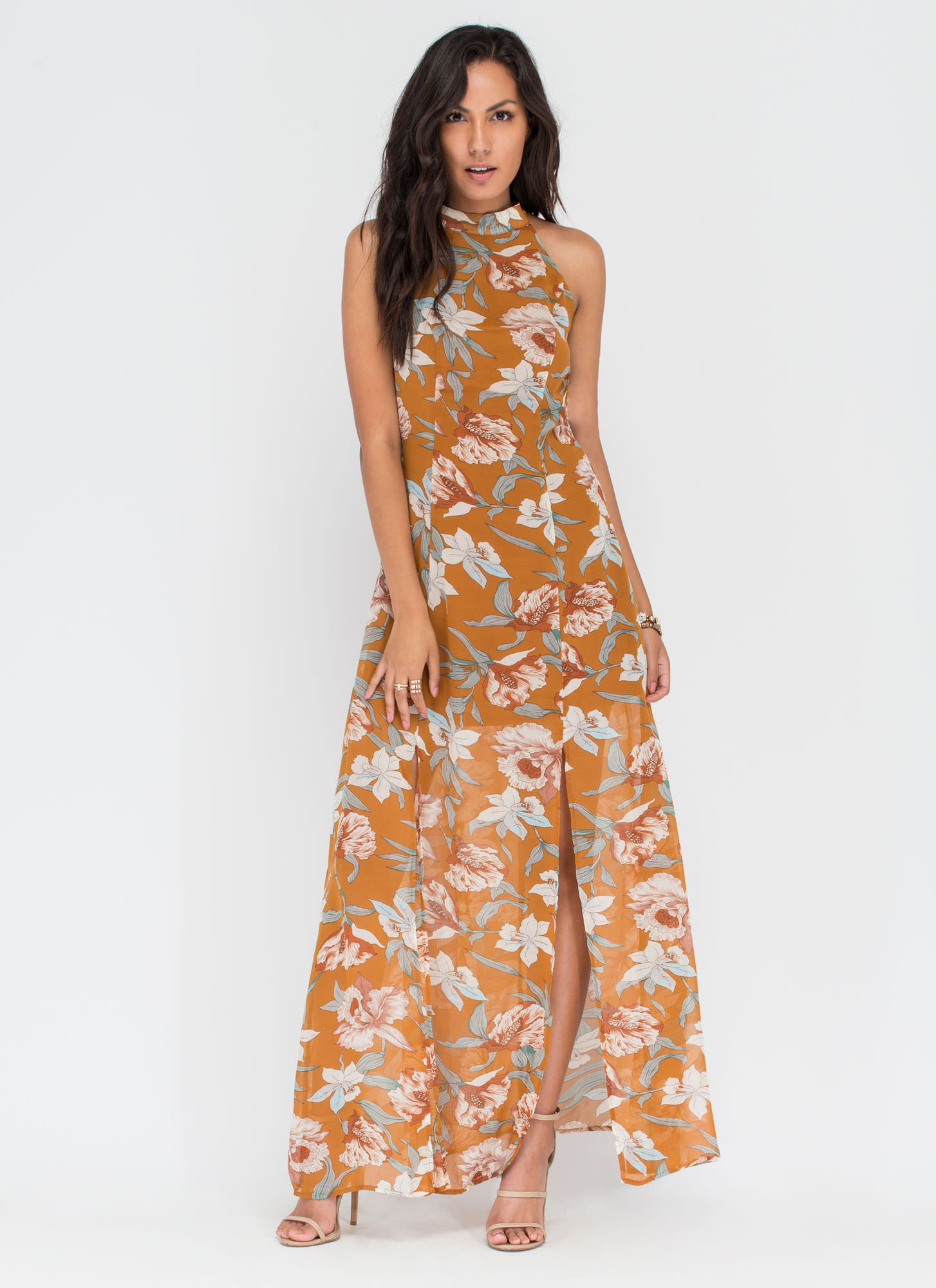 Floral Fling Double Slit Maxi Dress  MUSTARD (Final Sale)