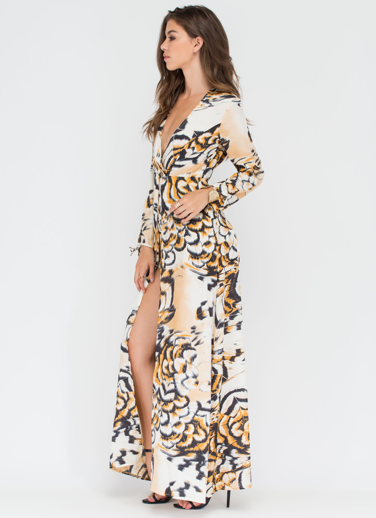 Flora And Fauna Plunging Printed Maxi WHITE