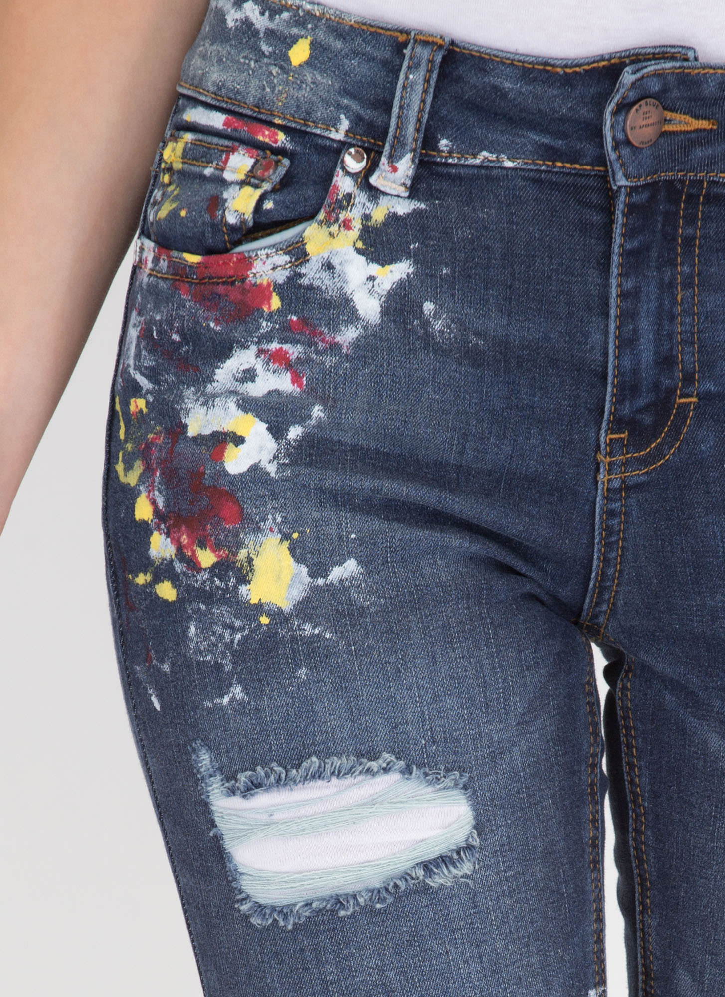 Gallery Work Distressed Spattered Jeans DKBLUE