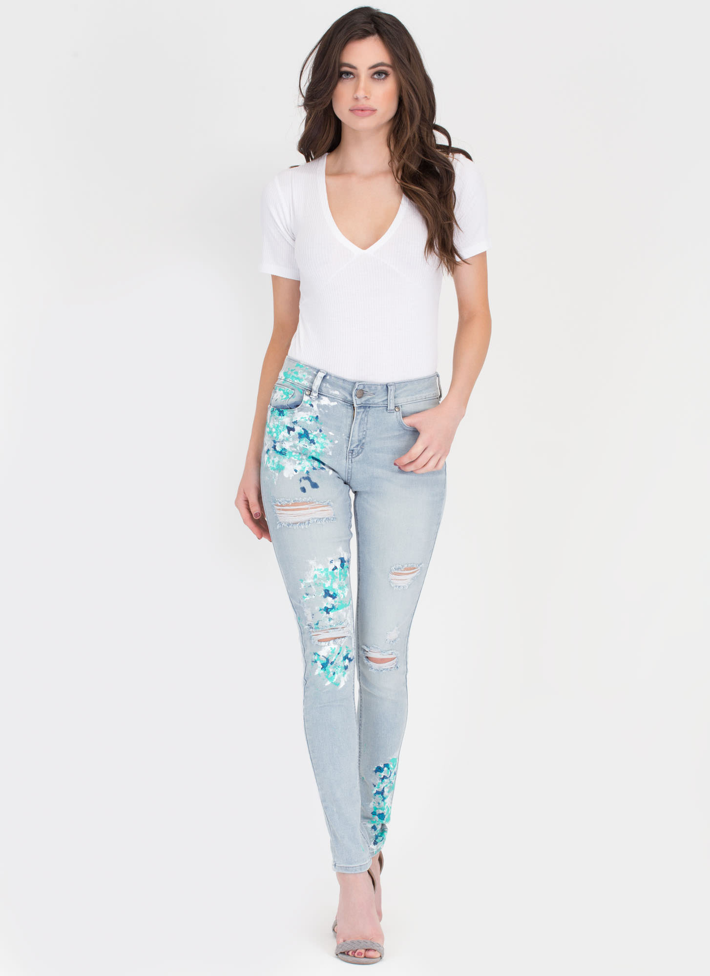Gallery Work Distressed Spattered Jeans LTBLUE