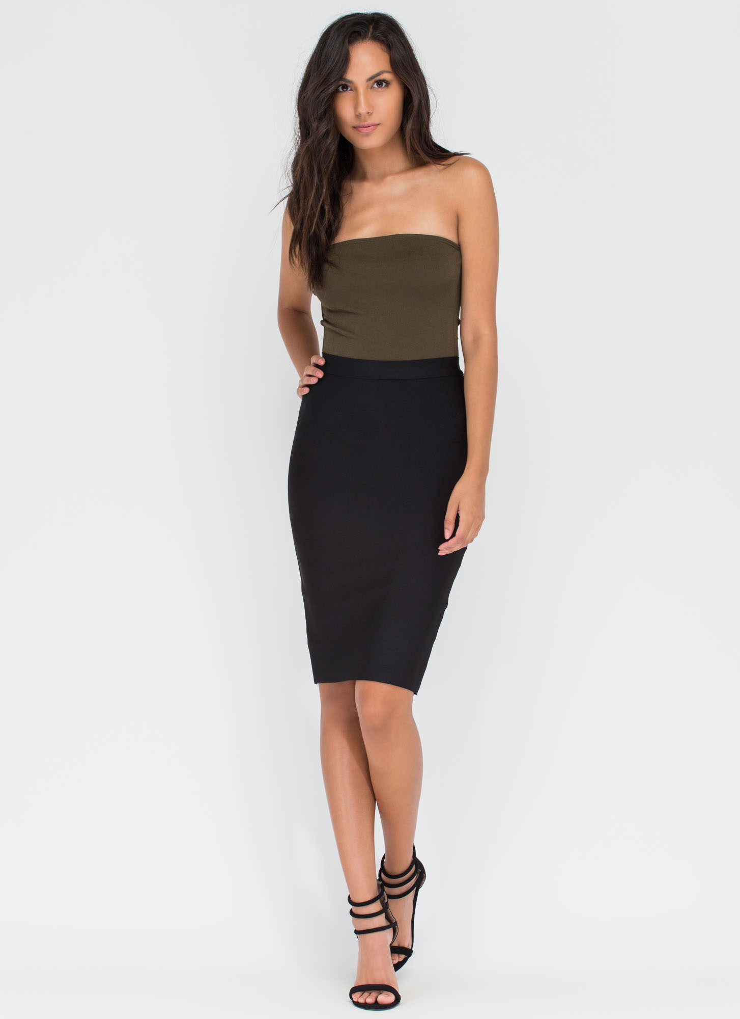 Strategic Move Cut-Out Bodysuit OLIVE