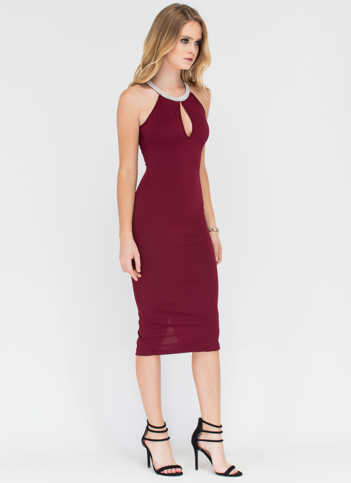 Sparkling Soiree Embellished Cut-Out Dress WINE