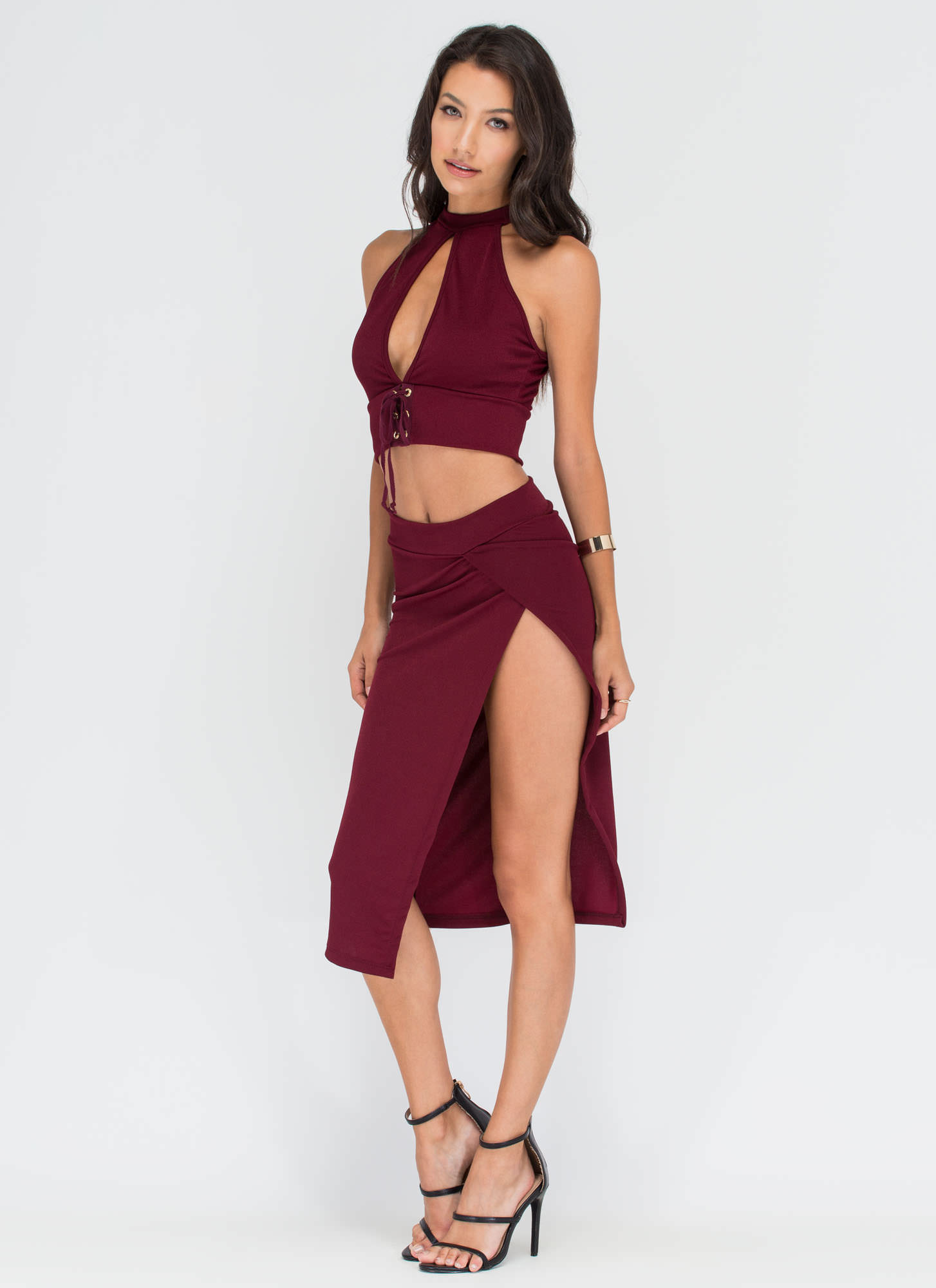 Split Second Lace-Up Top 'N Skirt Set WINE