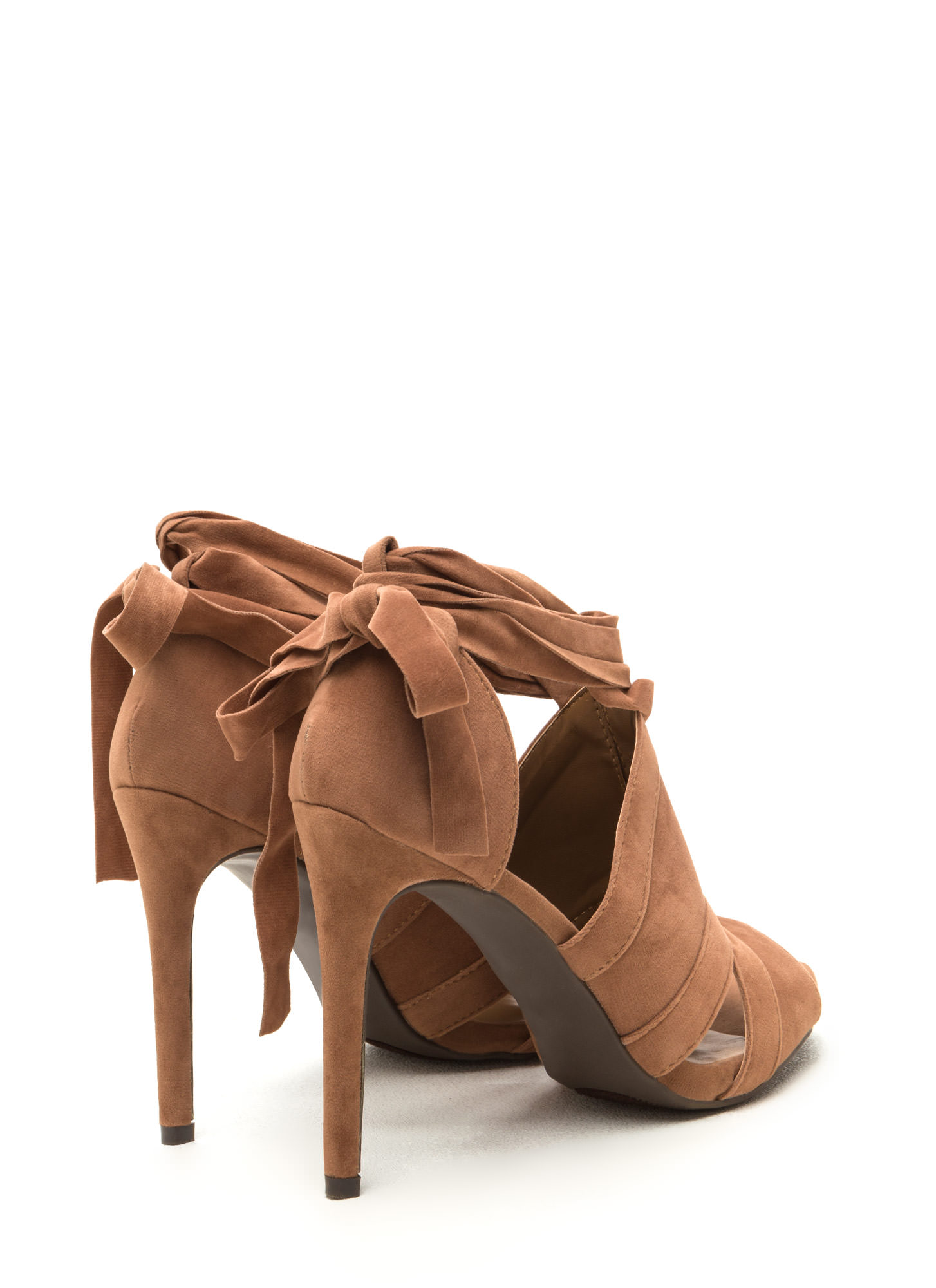 Wrap Game Faux Suede Cut-Out Heels CAMEL