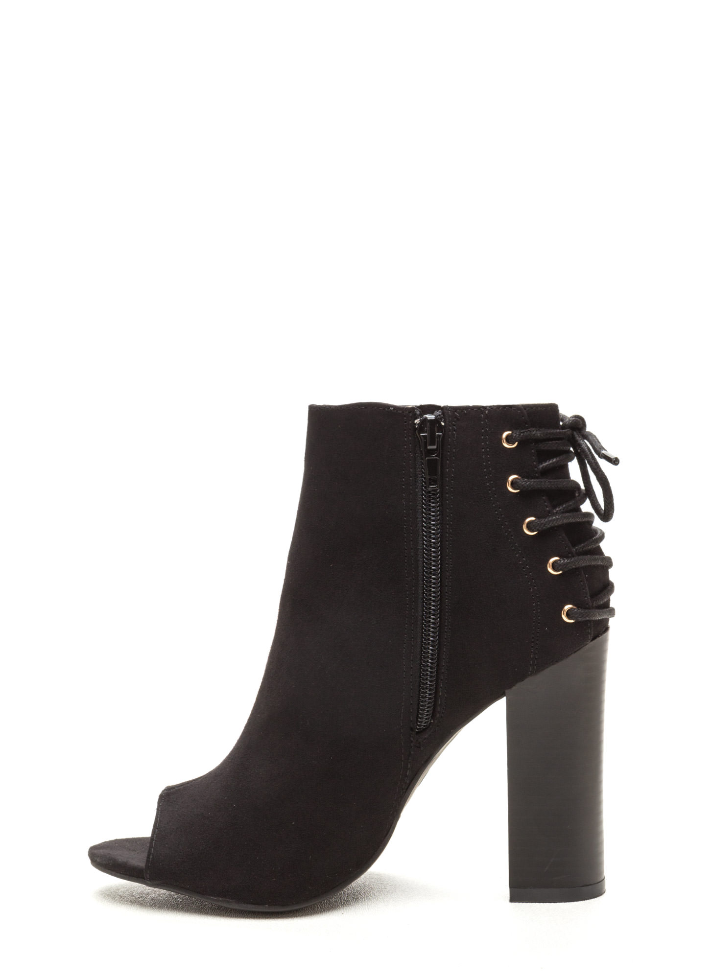 Back Talk Laced-Up Chunky Booties BLACK
