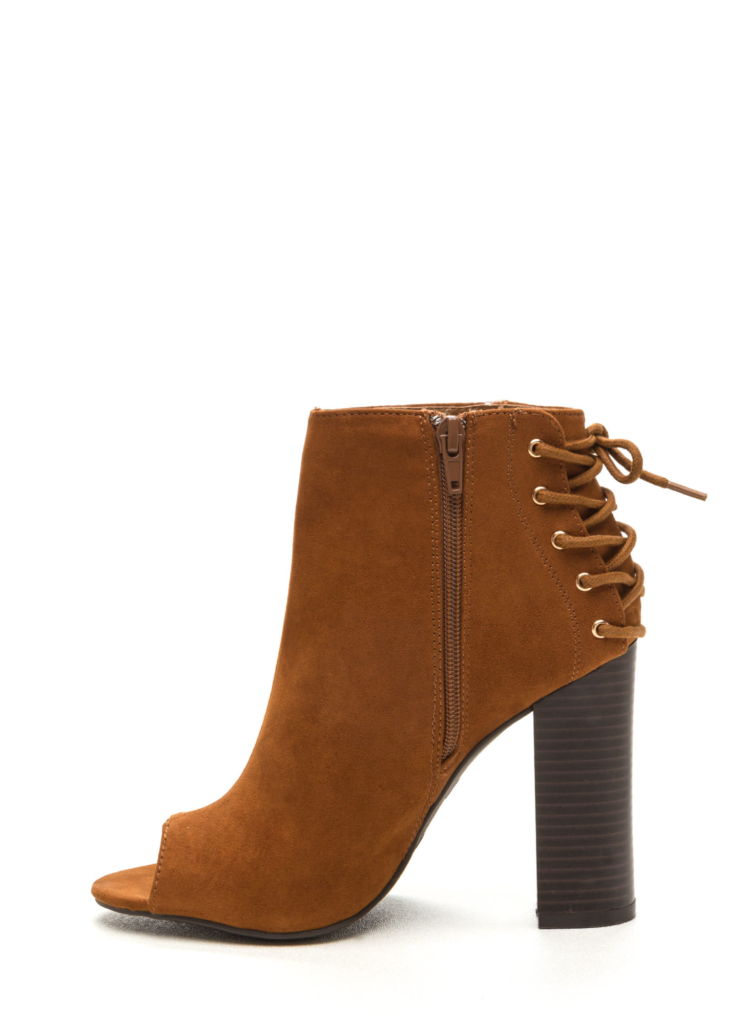 Back Talk Laced-Up Chunky Booties CHESTNUT