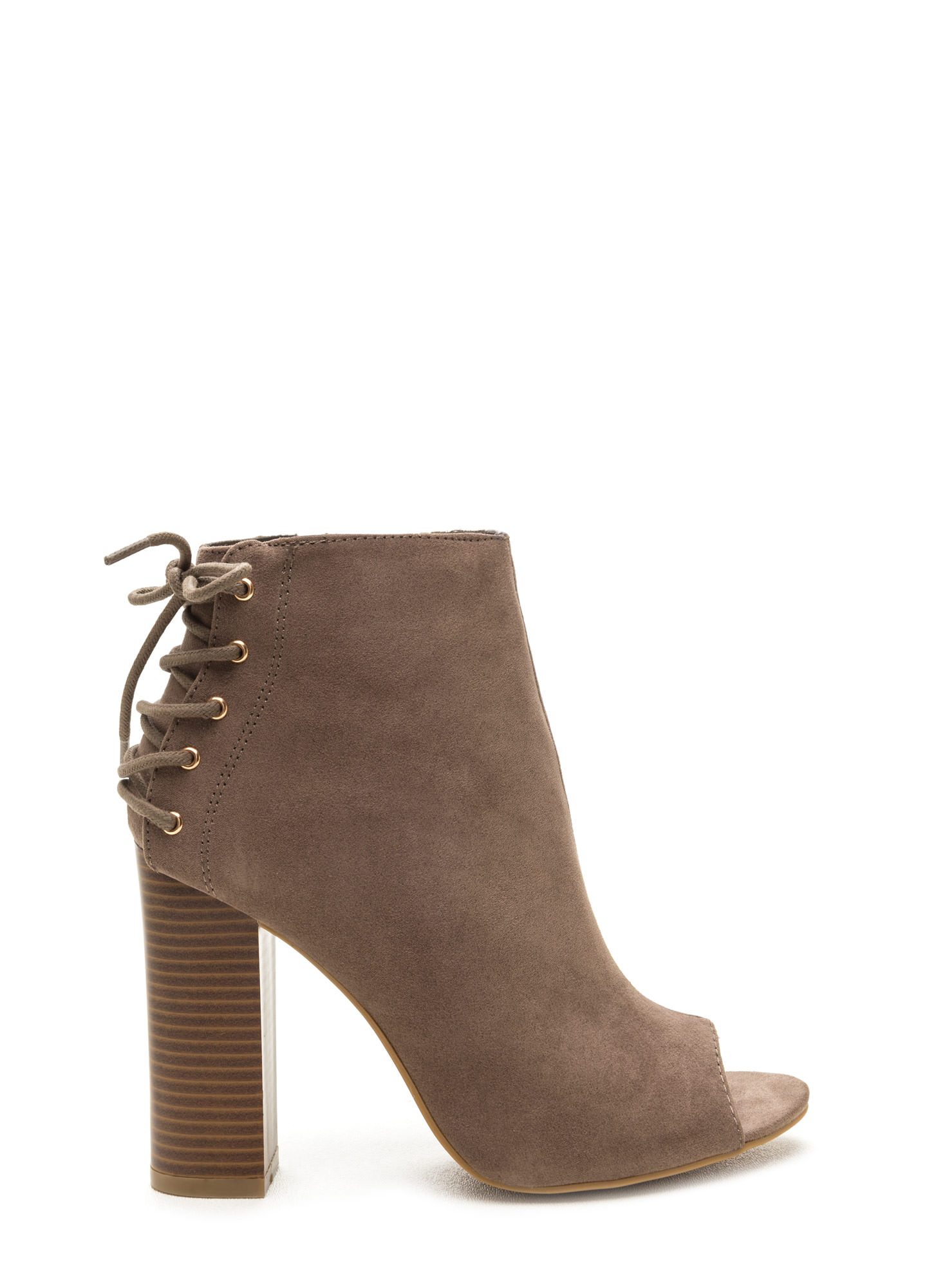 Back Talk Laced-Up Chunky Booties TAUPE