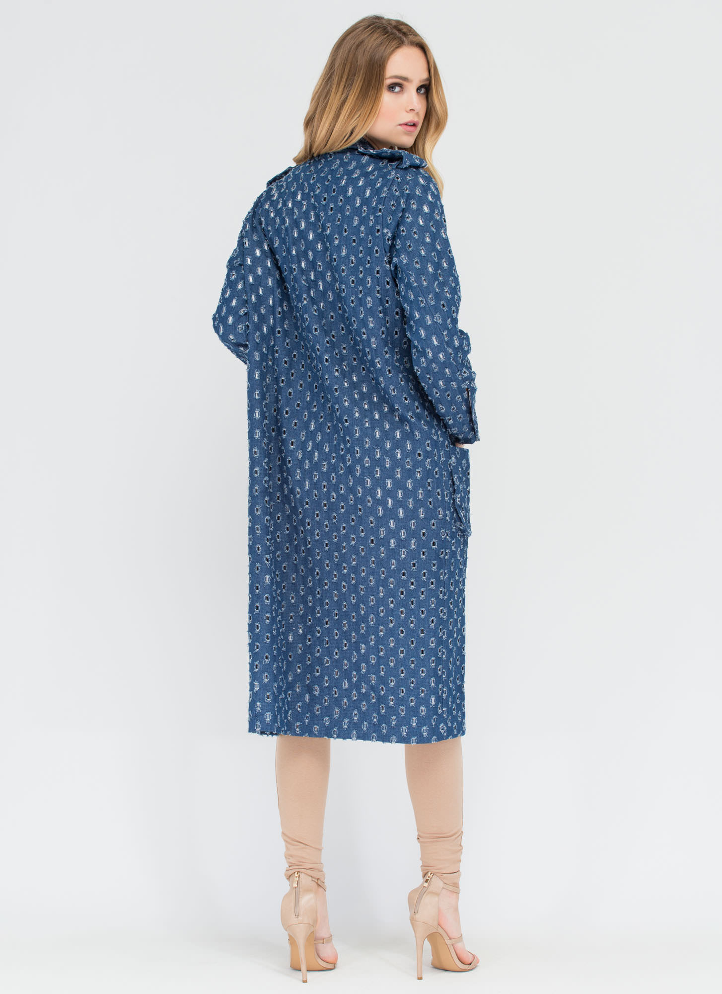 Holey Spirit Perforated Denim Trench BLUE