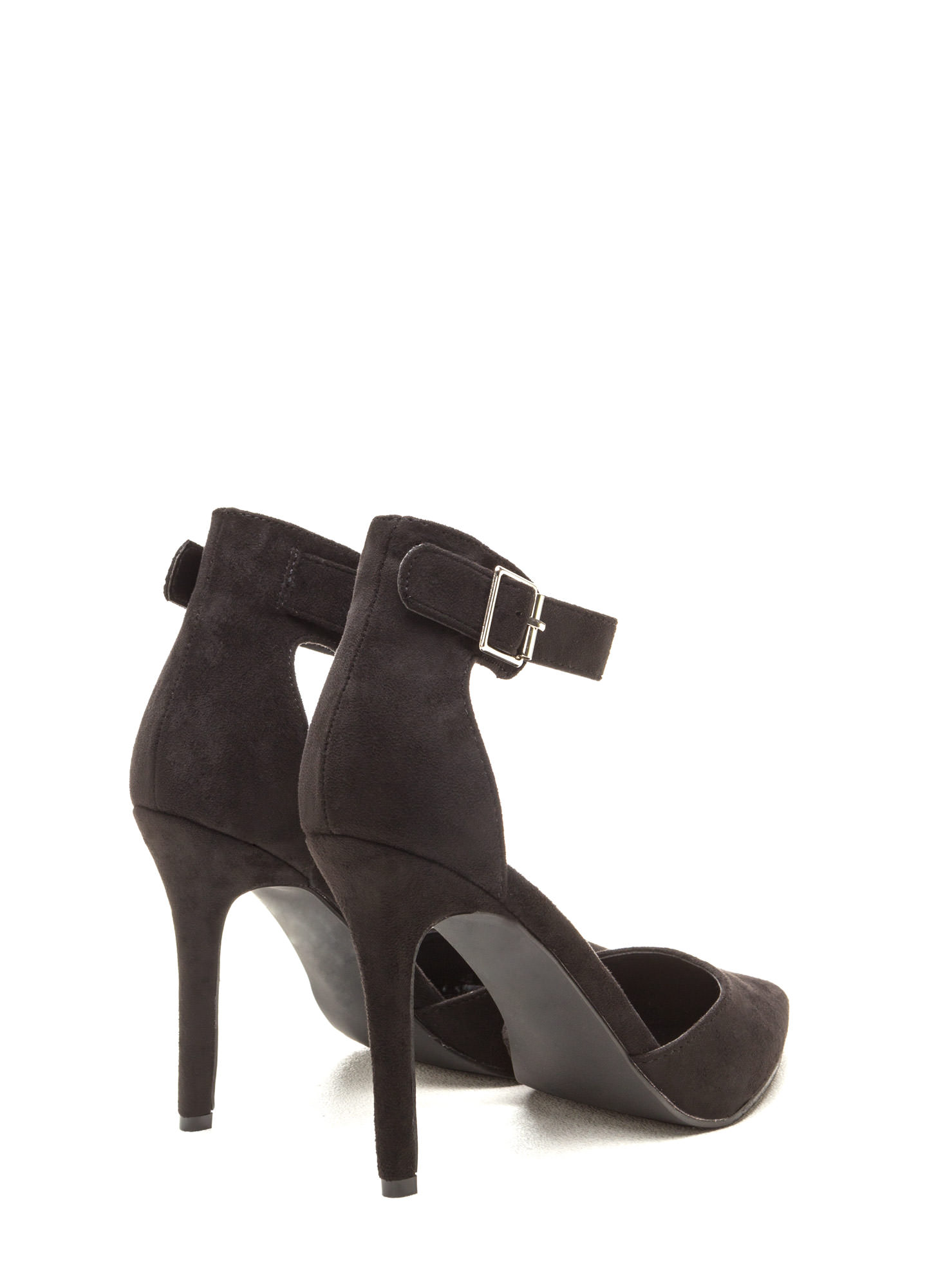 Get To The Point Buckled D'Orsay Heels BLACK