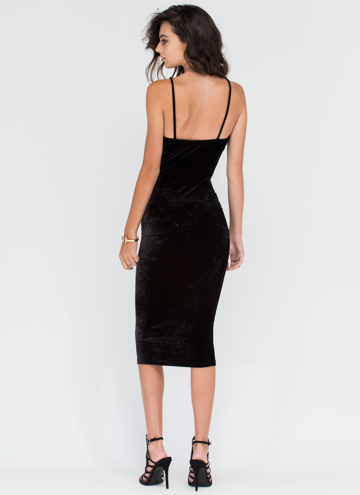Blow Me Away Velvet Bustier Midi Dress BLACK