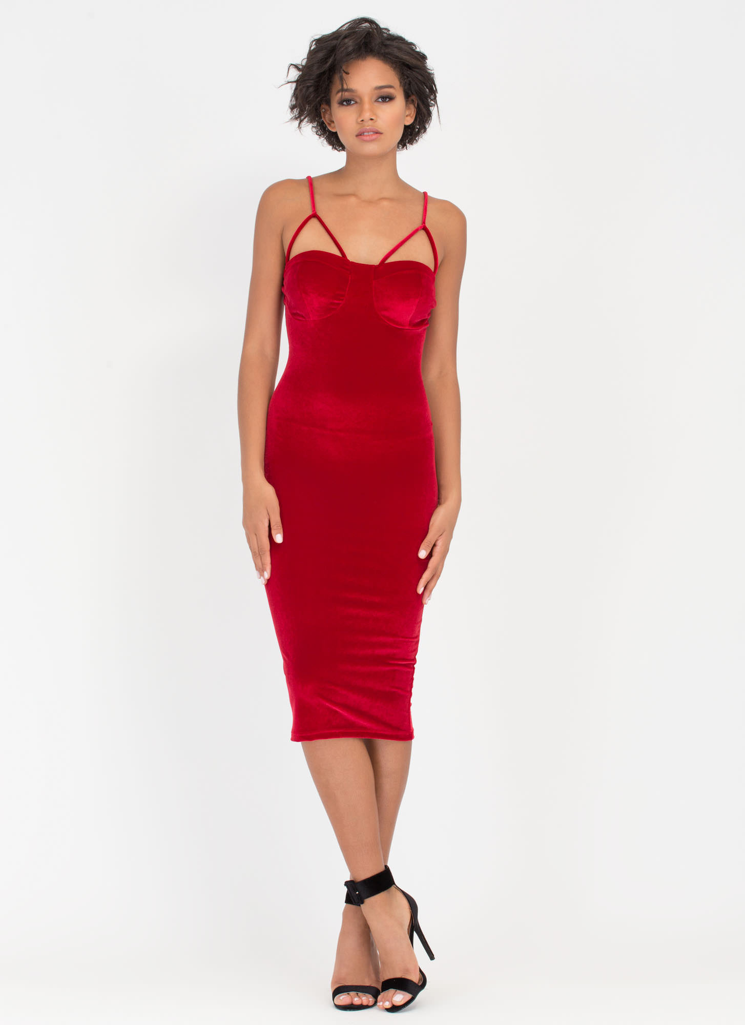 Blow Me Away Velvet Bustier Midi Dress RED