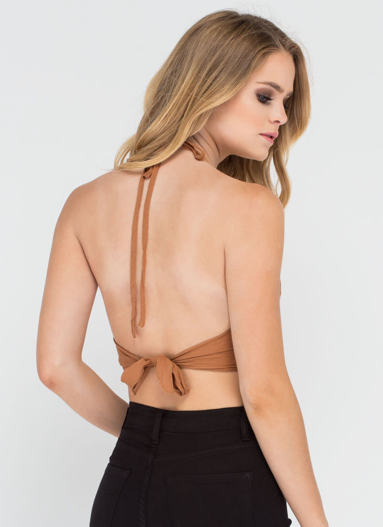 Road Trippin' Smocked Halter Crop Top CAMEL