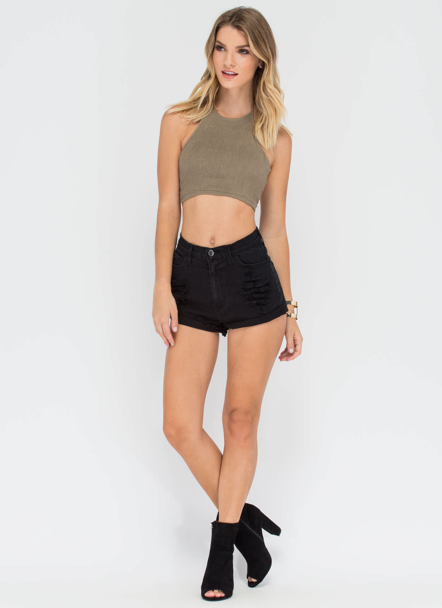 Road Trippin' Smocked Halter Crop Top OLIVE
