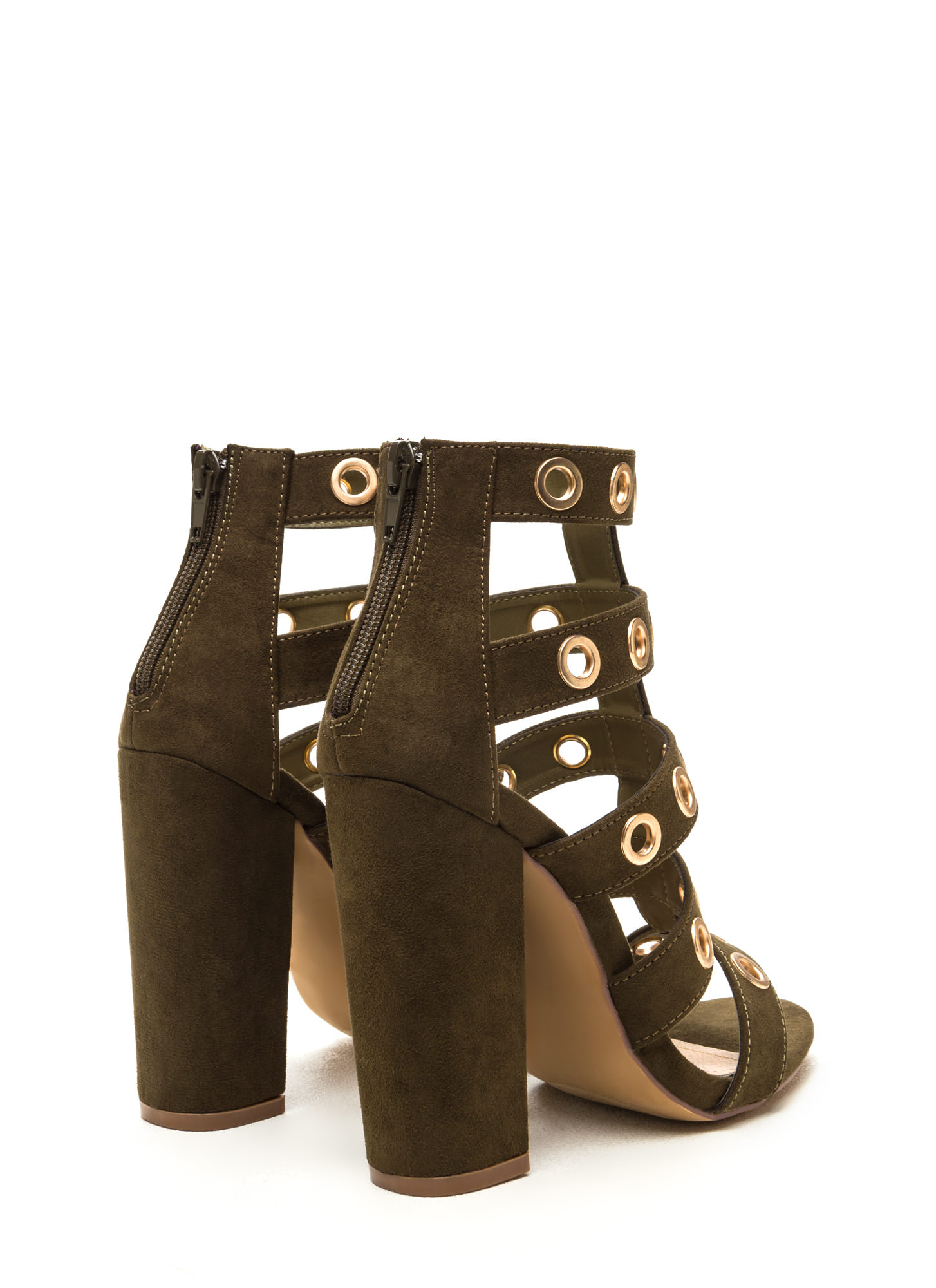 Hole-d It Together Chunky Caged Heels OLIVE