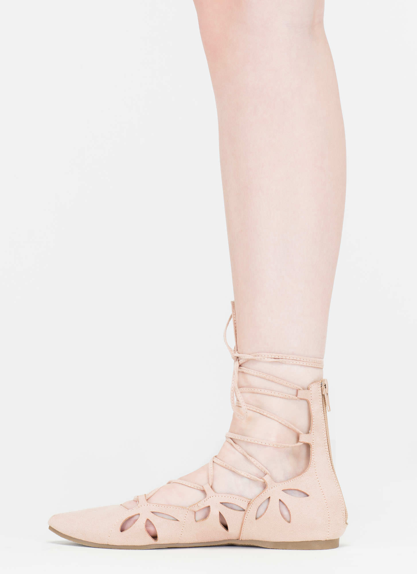 Share The Love Lace-Up Cut-Out Flats NUDE