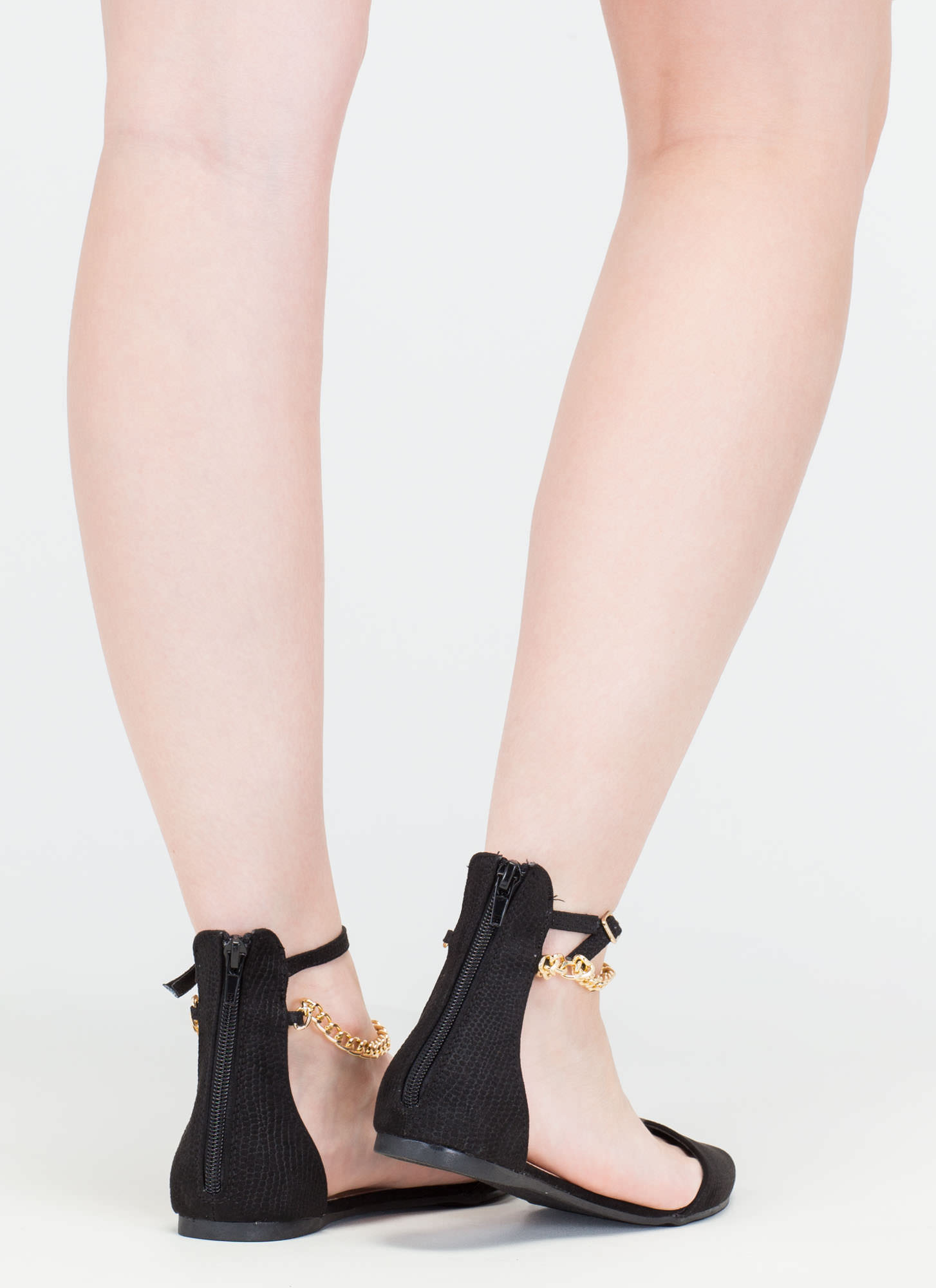 Understated Texture D'Orsay Chain Flats BLACK