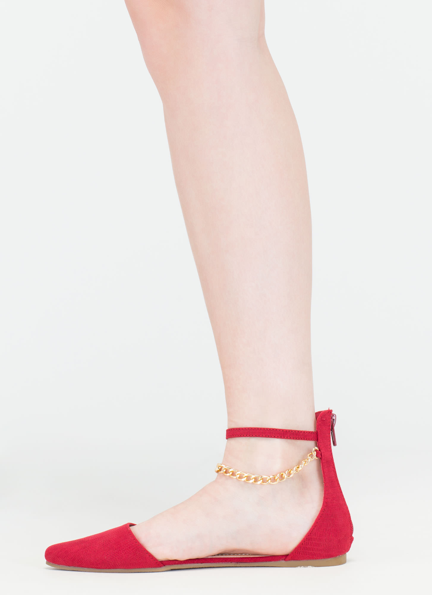 Understated Texture D'Orsay Chain Flats RED