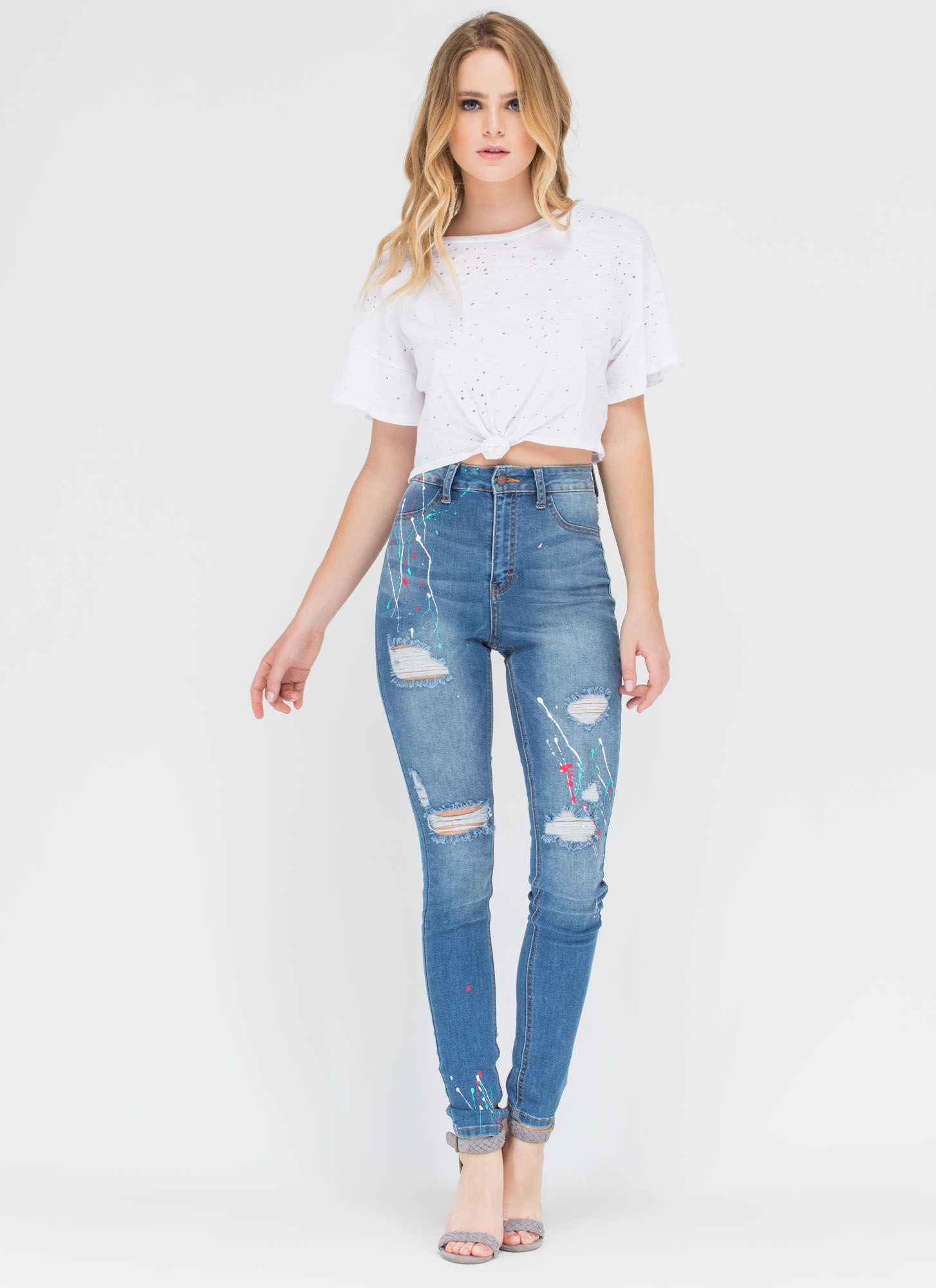 Fine Arts Distressed Spattered Jeans BLUE
