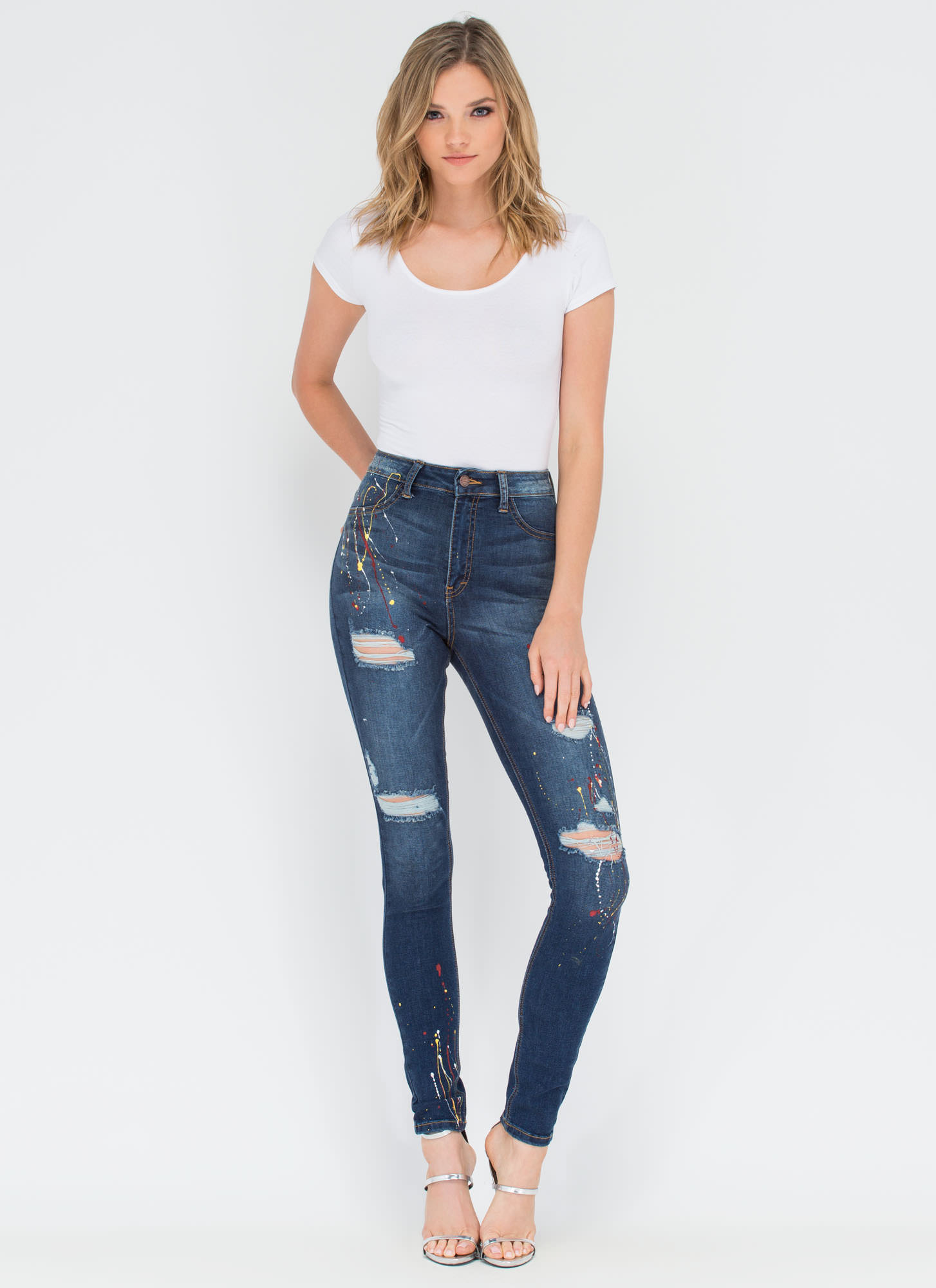 Fine Arts Distressed Spattered Jeans DKBLUE