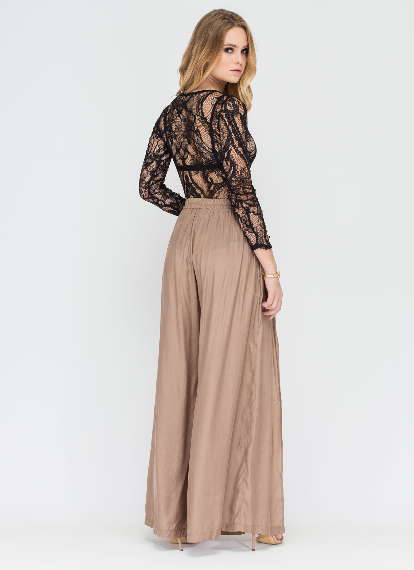 Breeze By Surplice Slit Palazzo Pants TAUPE