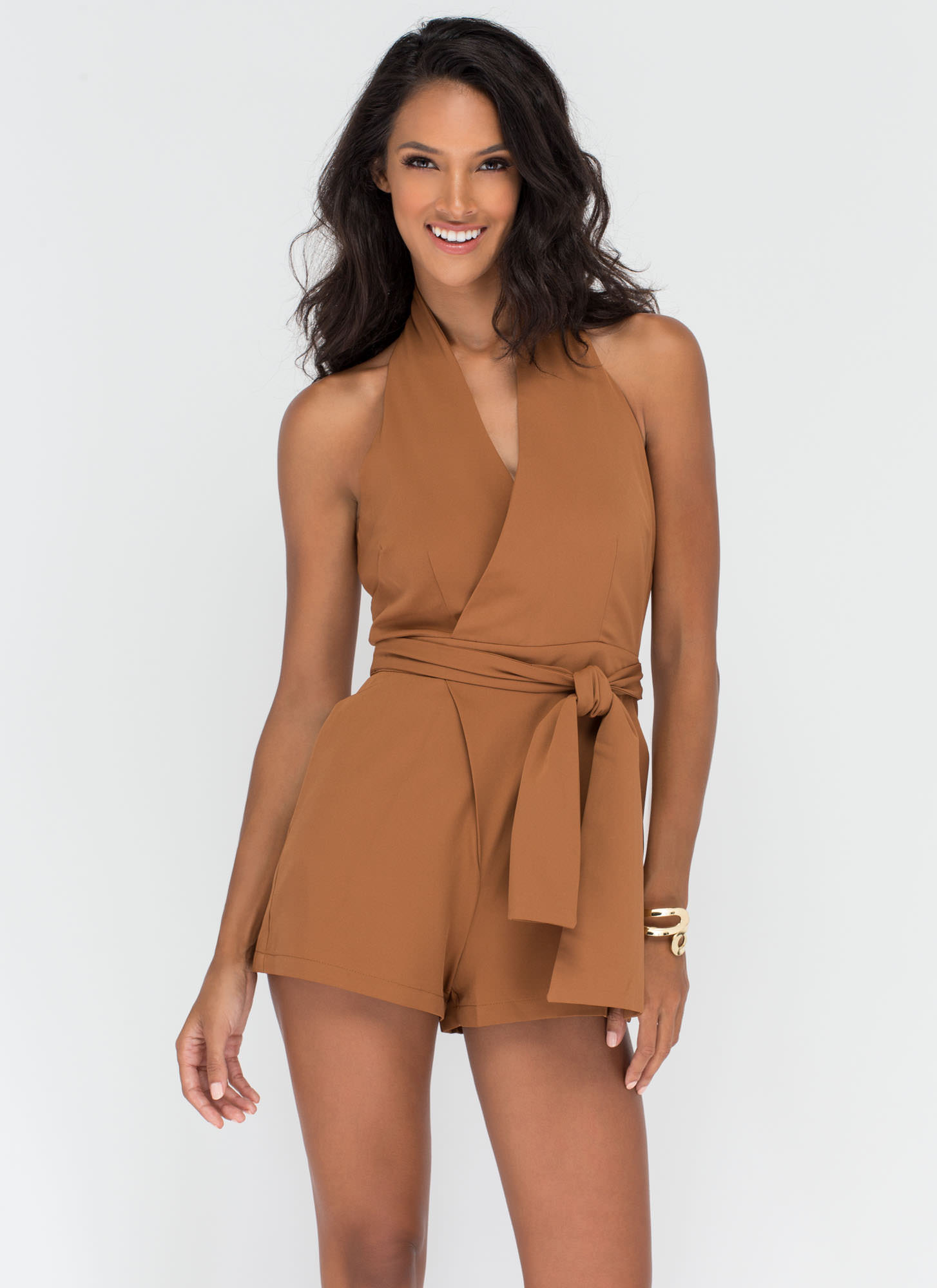 Wrap Things Up Plunging Halter Romper CAMEL