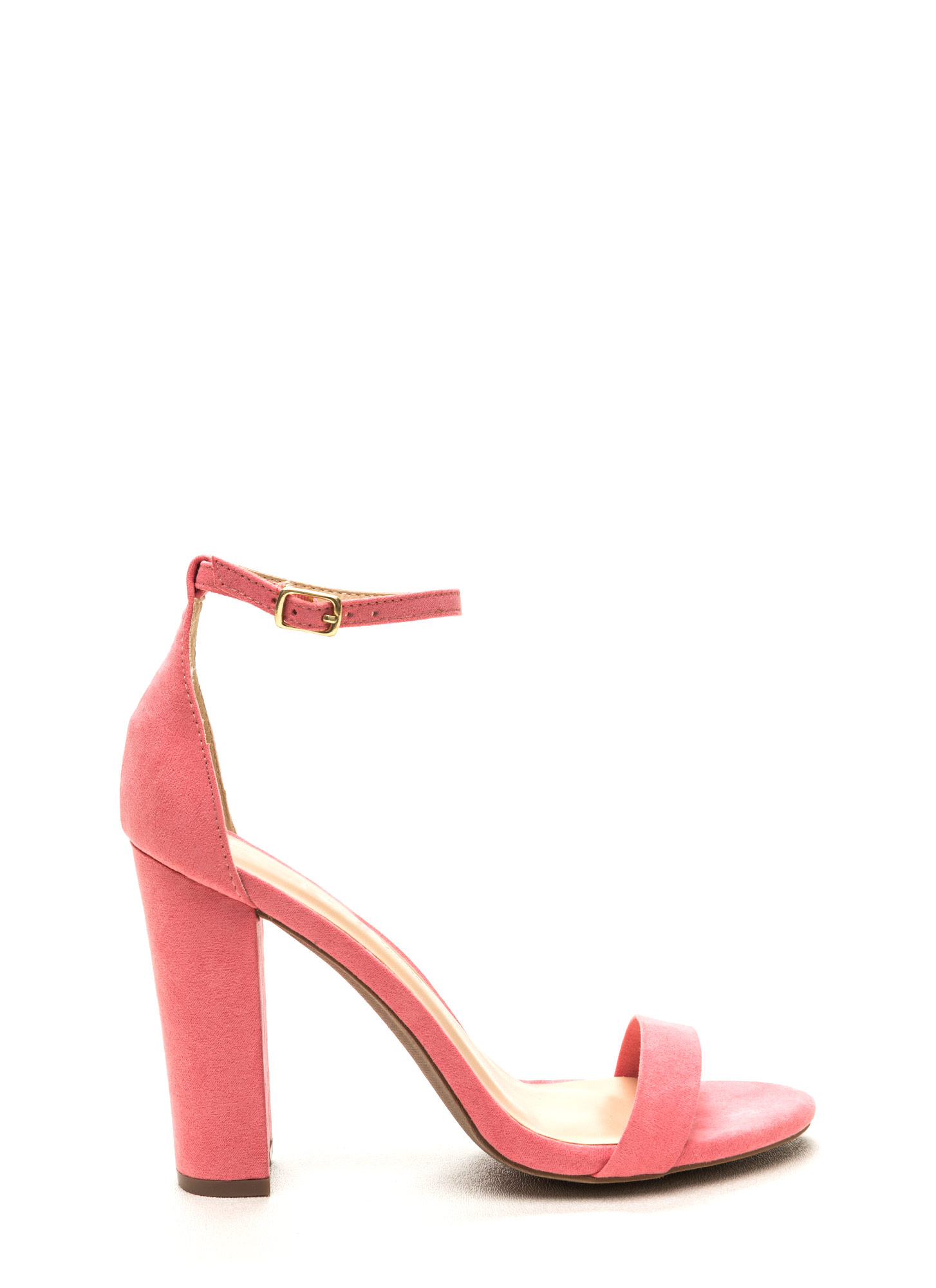 Pure 'N Simple Faux Suede Chunky Heels BLUSH