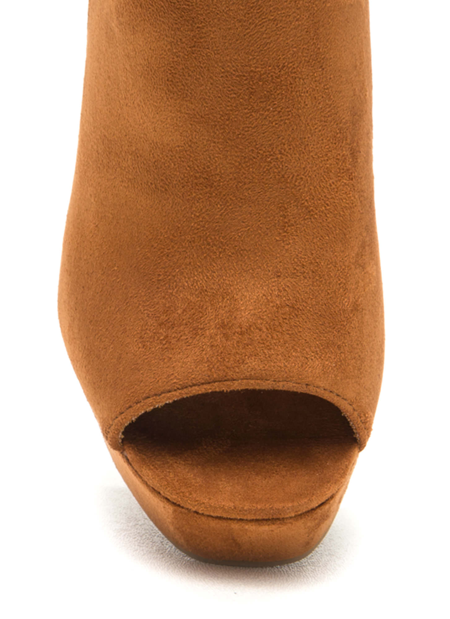 Sky High Faux Suede Platform Booties WHISKY