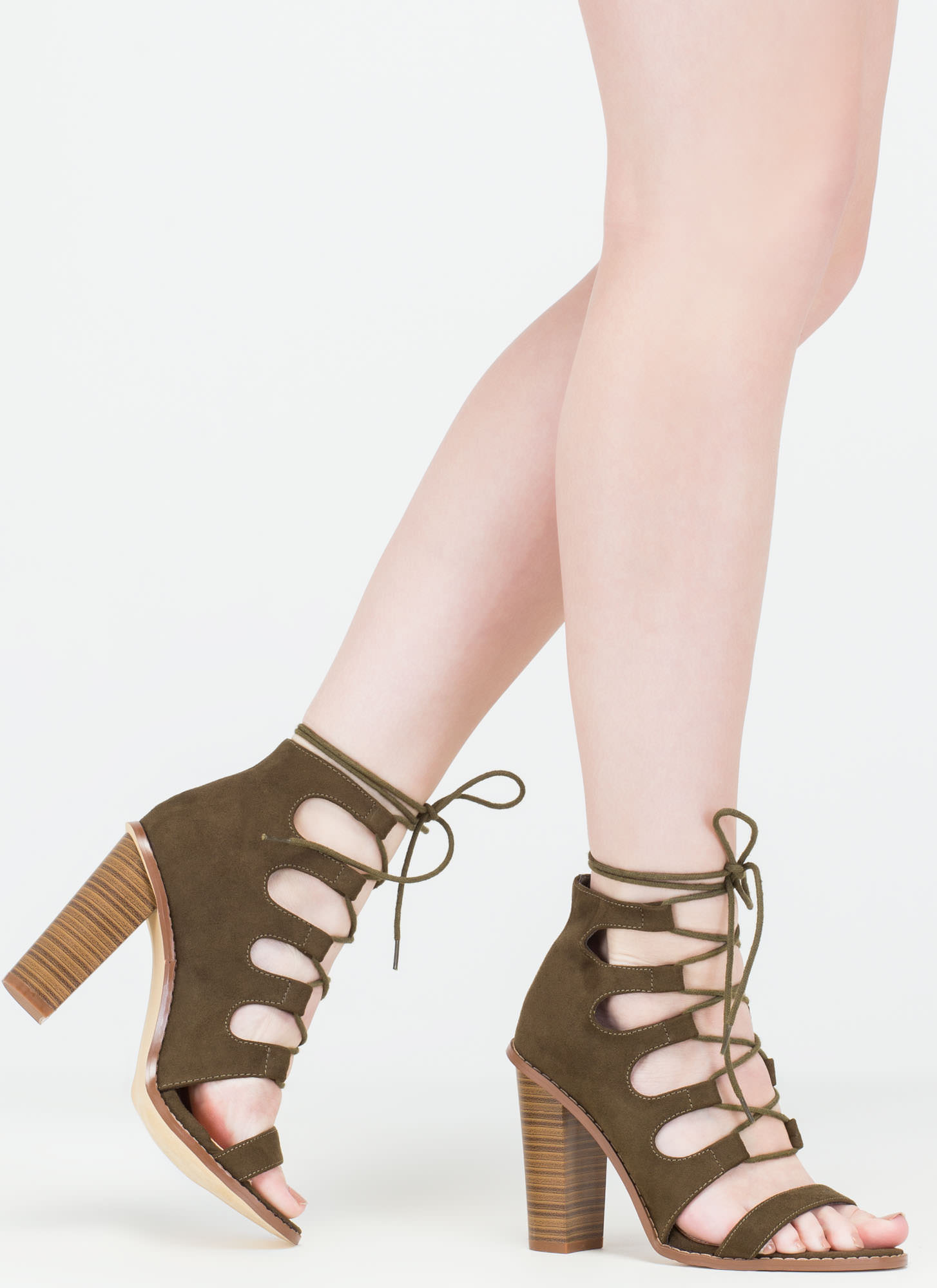 Foot Notes Lace-Up Chunky Heels OLIVE