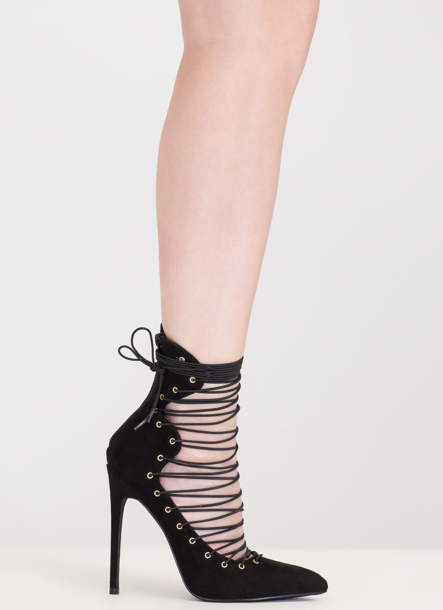 Eclectic Slide Lace-Up Pointy Heels BLACK