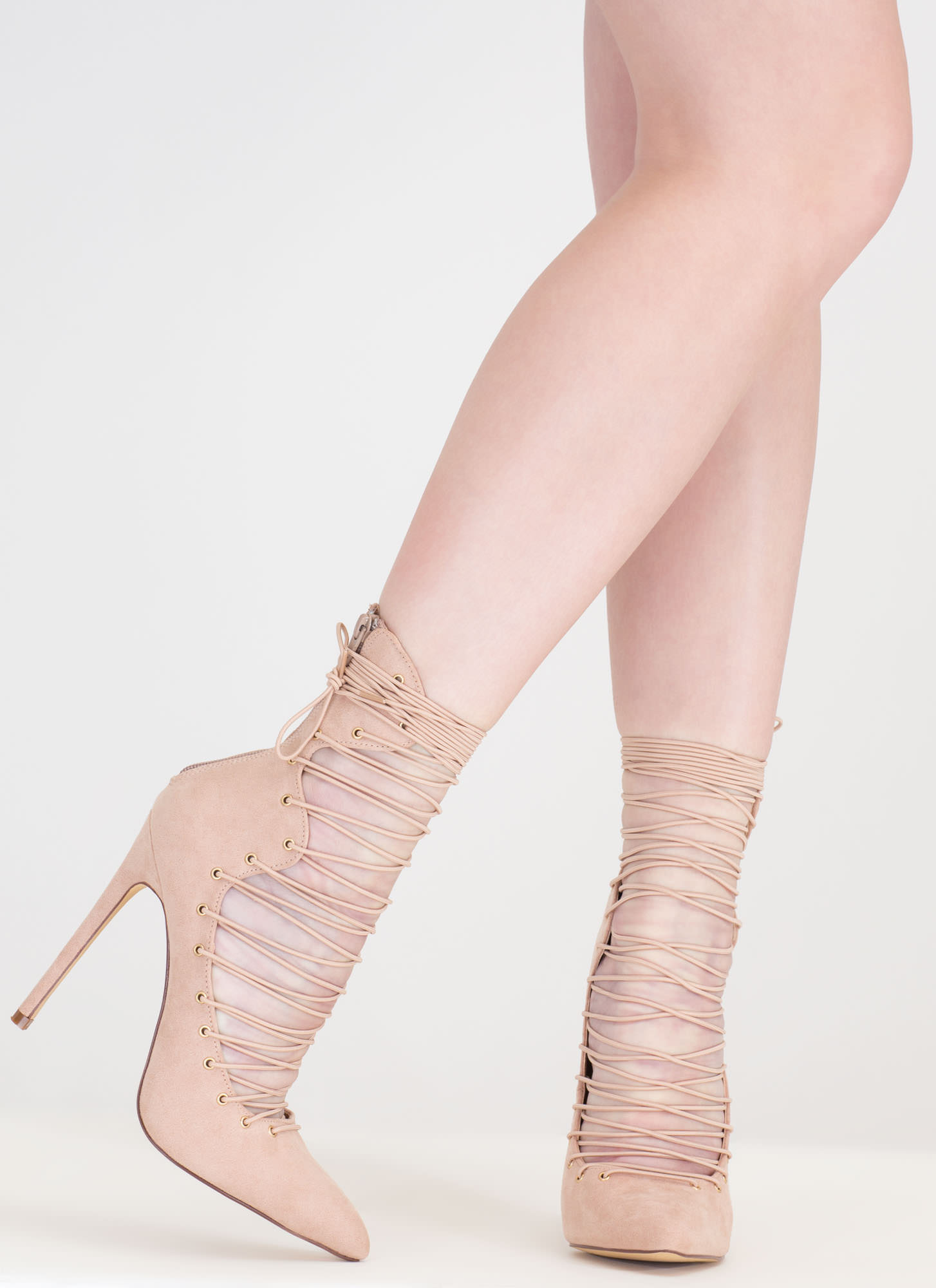 Eclectic Slide Lace-Up Pointy Heels NUDE