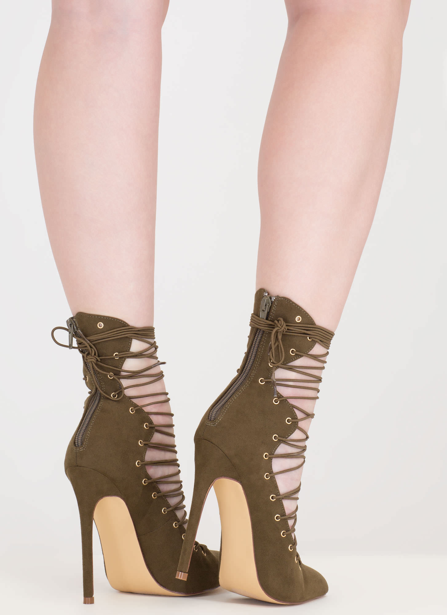 Eclectic Slide Lace-Up Pointy Heels OLIVE