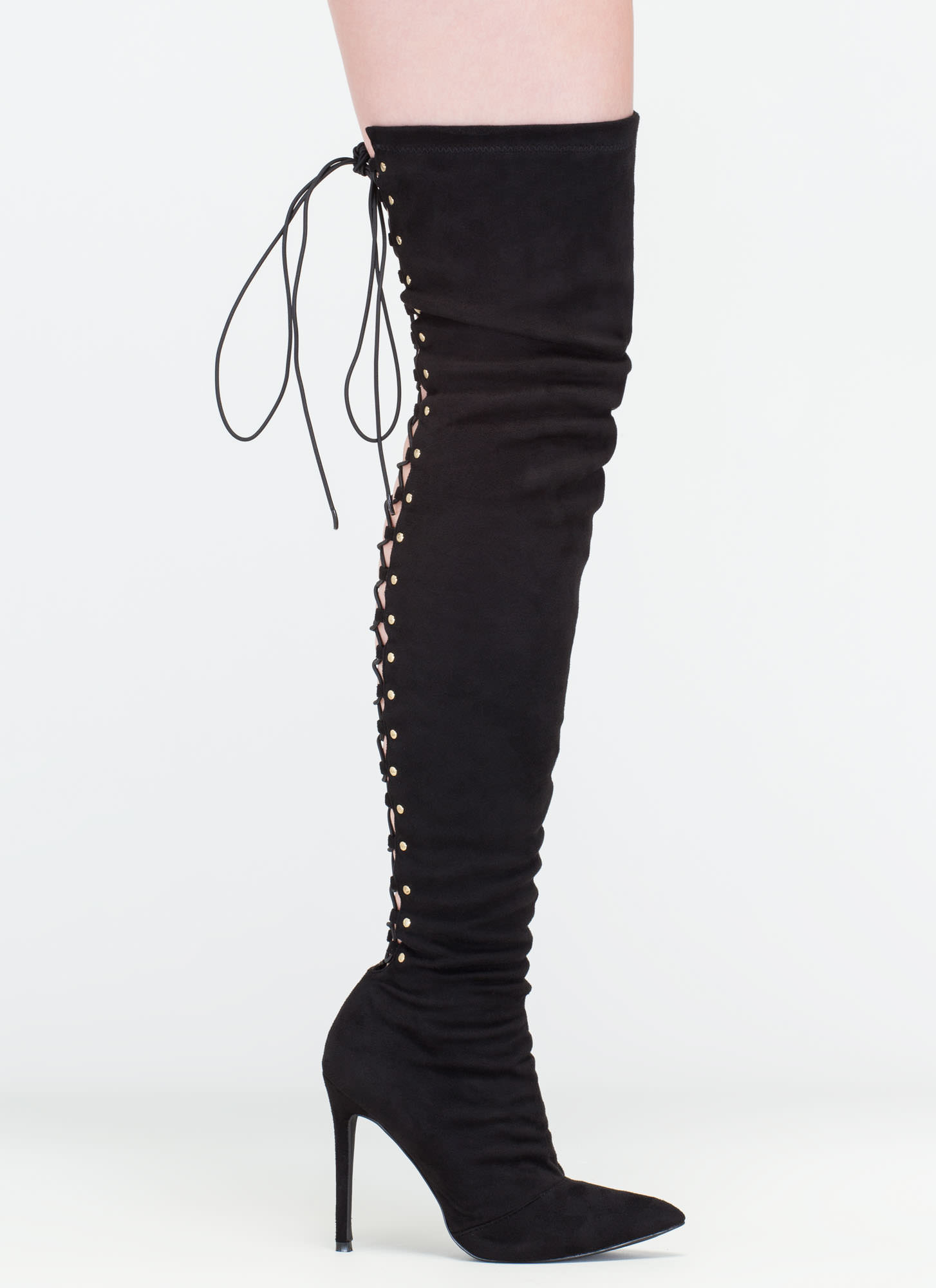 High Fever Over-The-Knee Lace-Up Boots BLACK