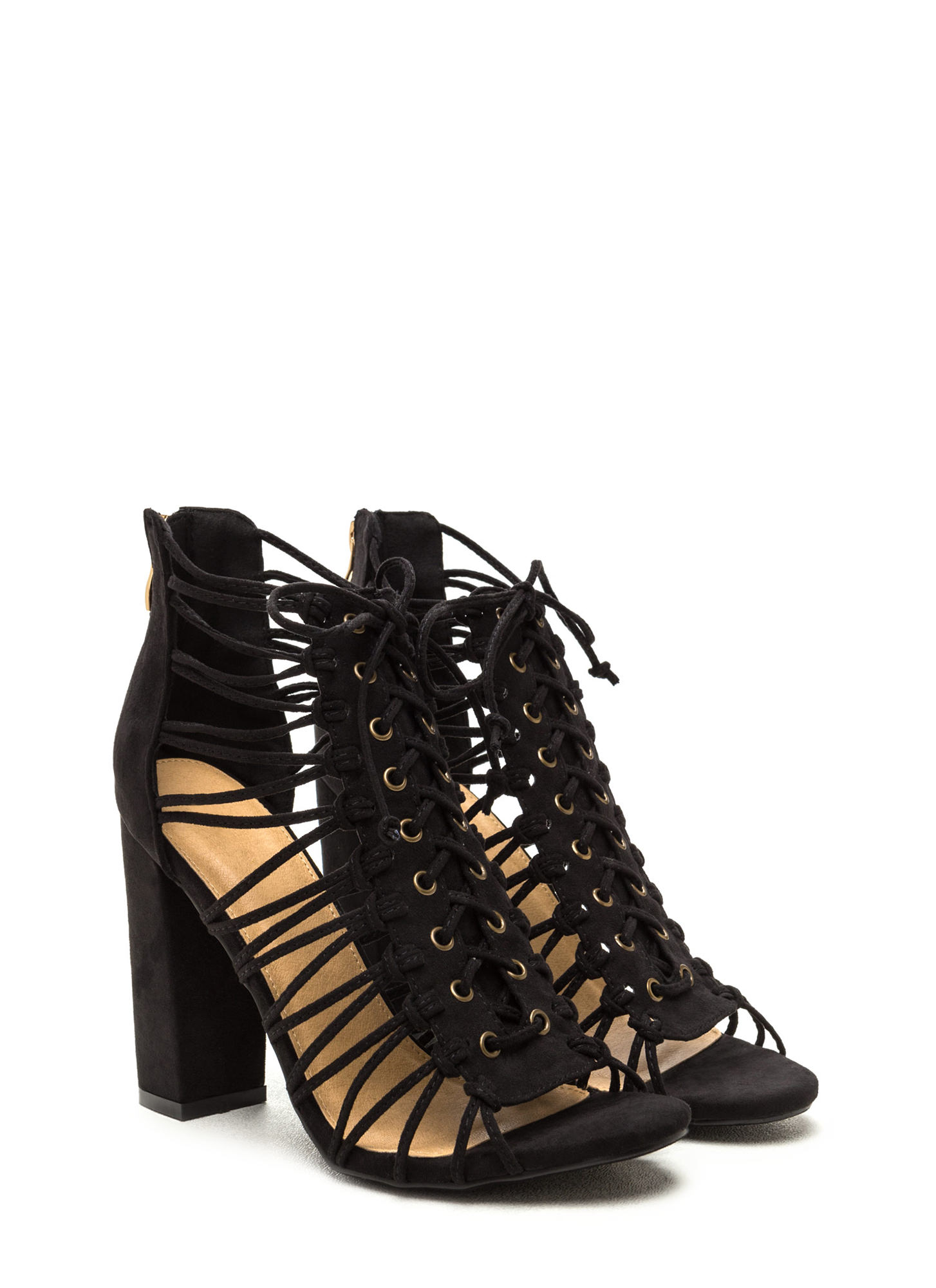 Knot Again Chunky Caged Lace-Up Heels BLACK
