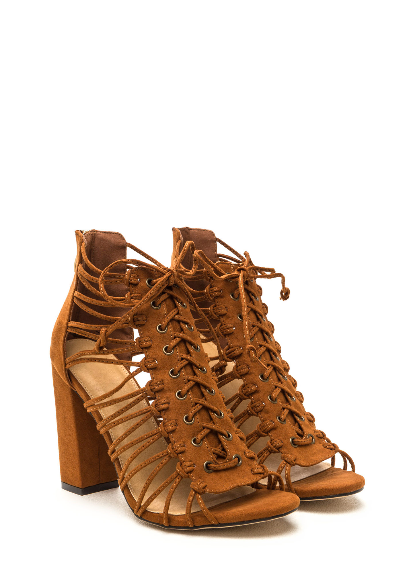 Knot Again Chunky Caged Lace-Up Heels COGNAC