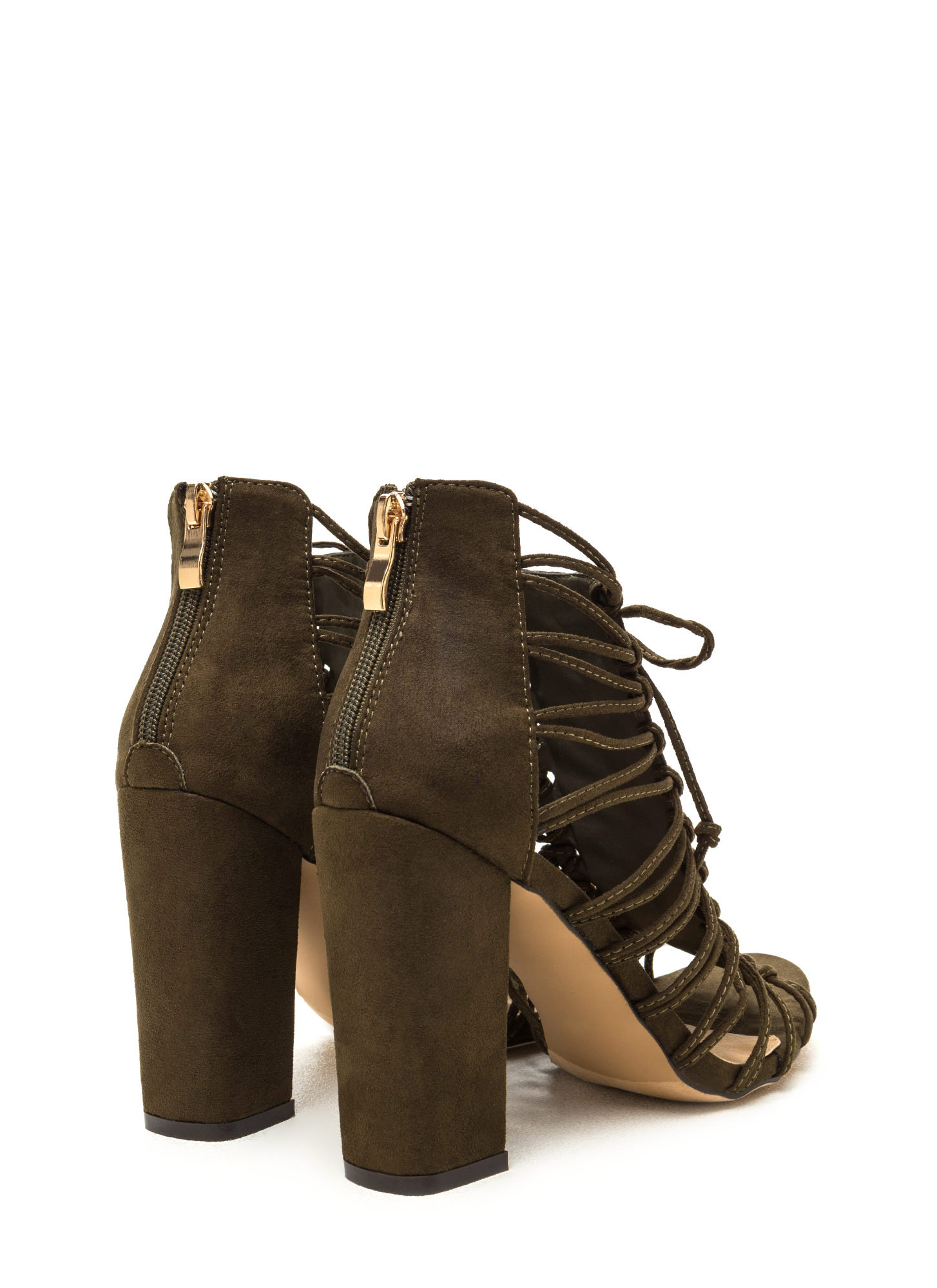 Knot Again Chunky Caged Lace-Up Heels OLIVE