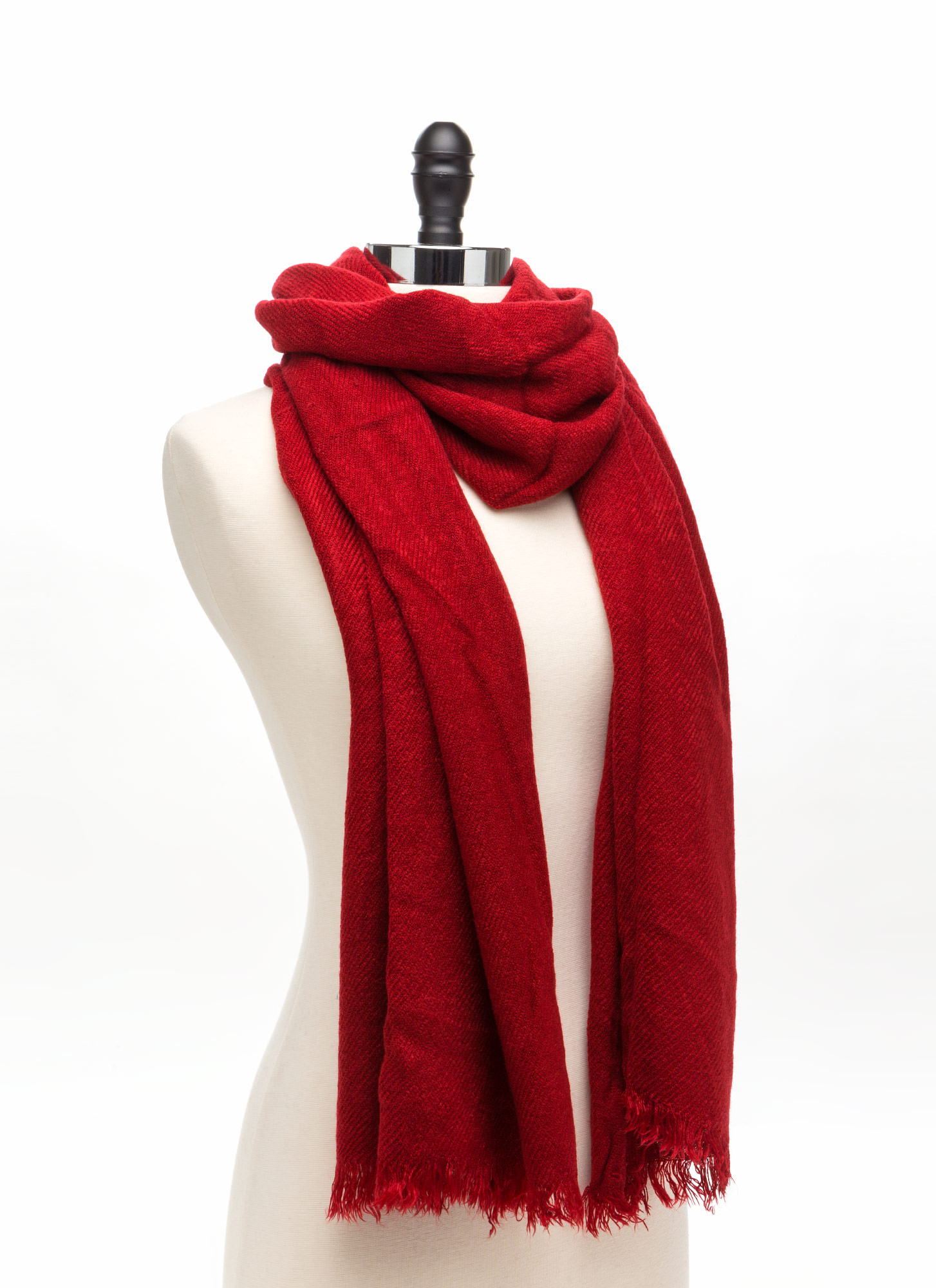 Wrap This Up Large Fringed Scarf BURGUNDY