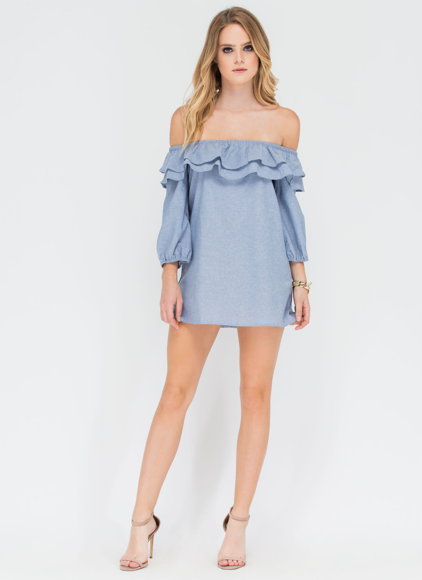 For U Ruffled Chambray Off-Shoulder Top BLUE