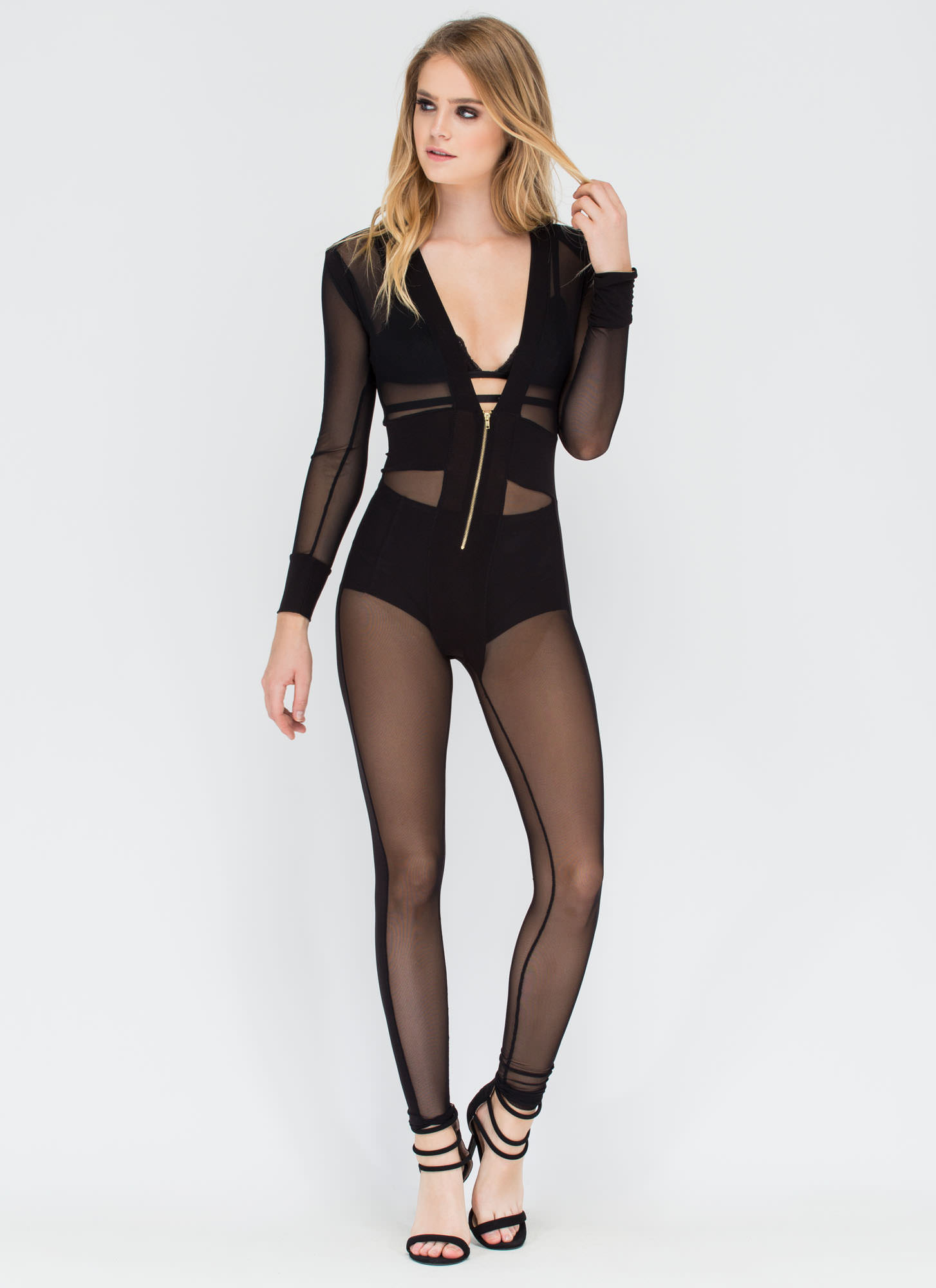 Sheer Leader Plunging Jumpsuit BLACK