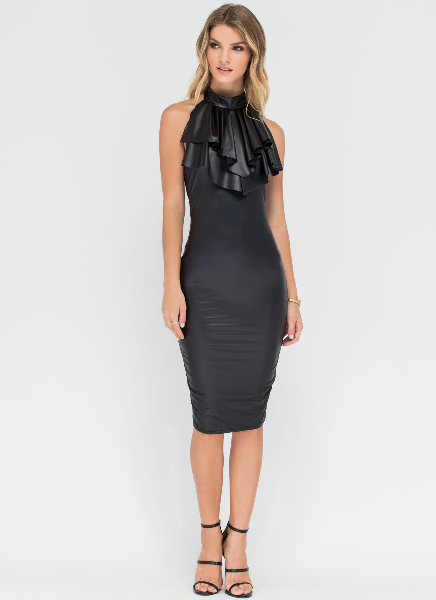 Neck 'N Call Ruffled Coated Midi Dress BLACK