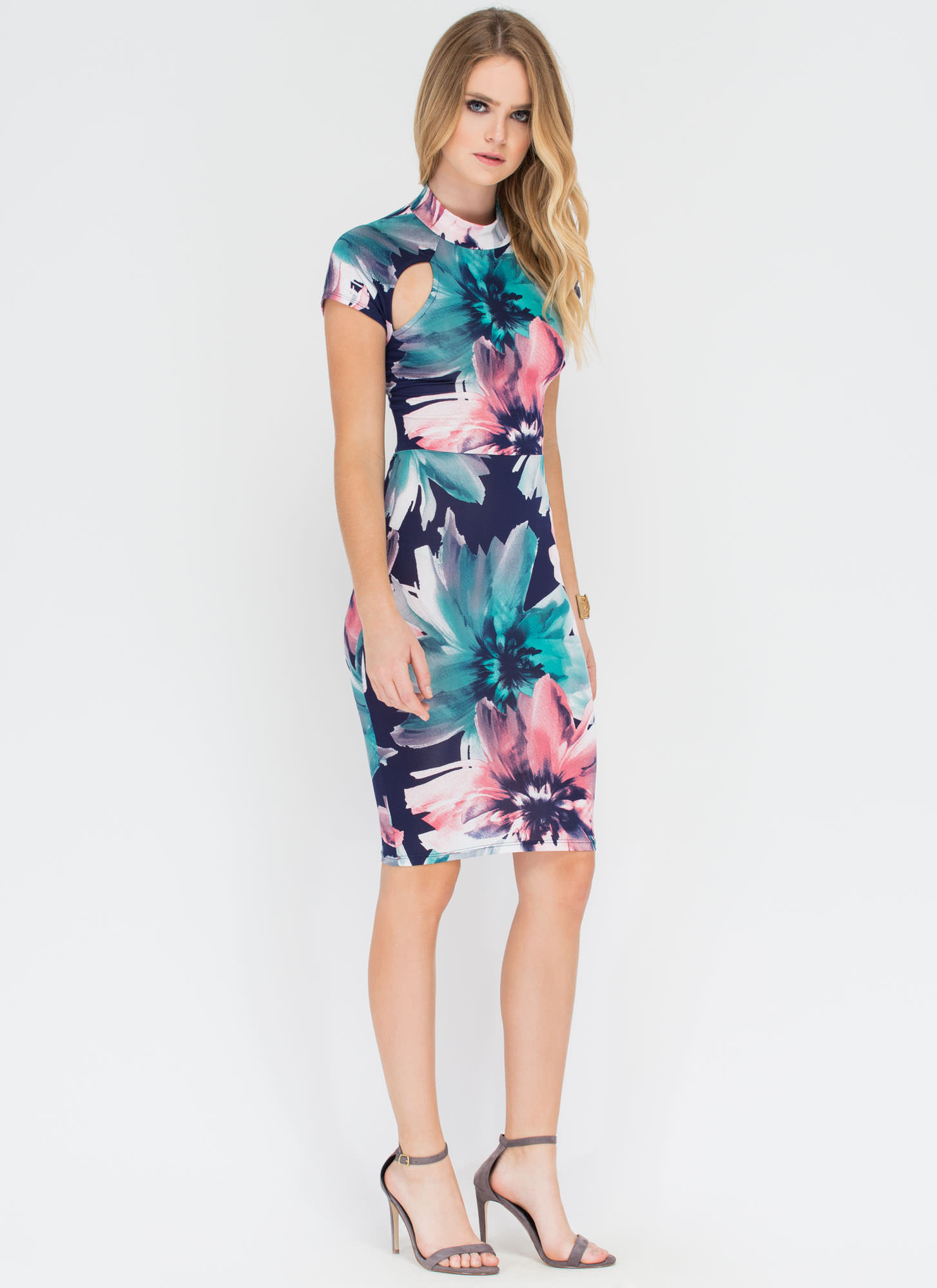 Floral Formation Cut-Out Lace-Up Dress NAVY