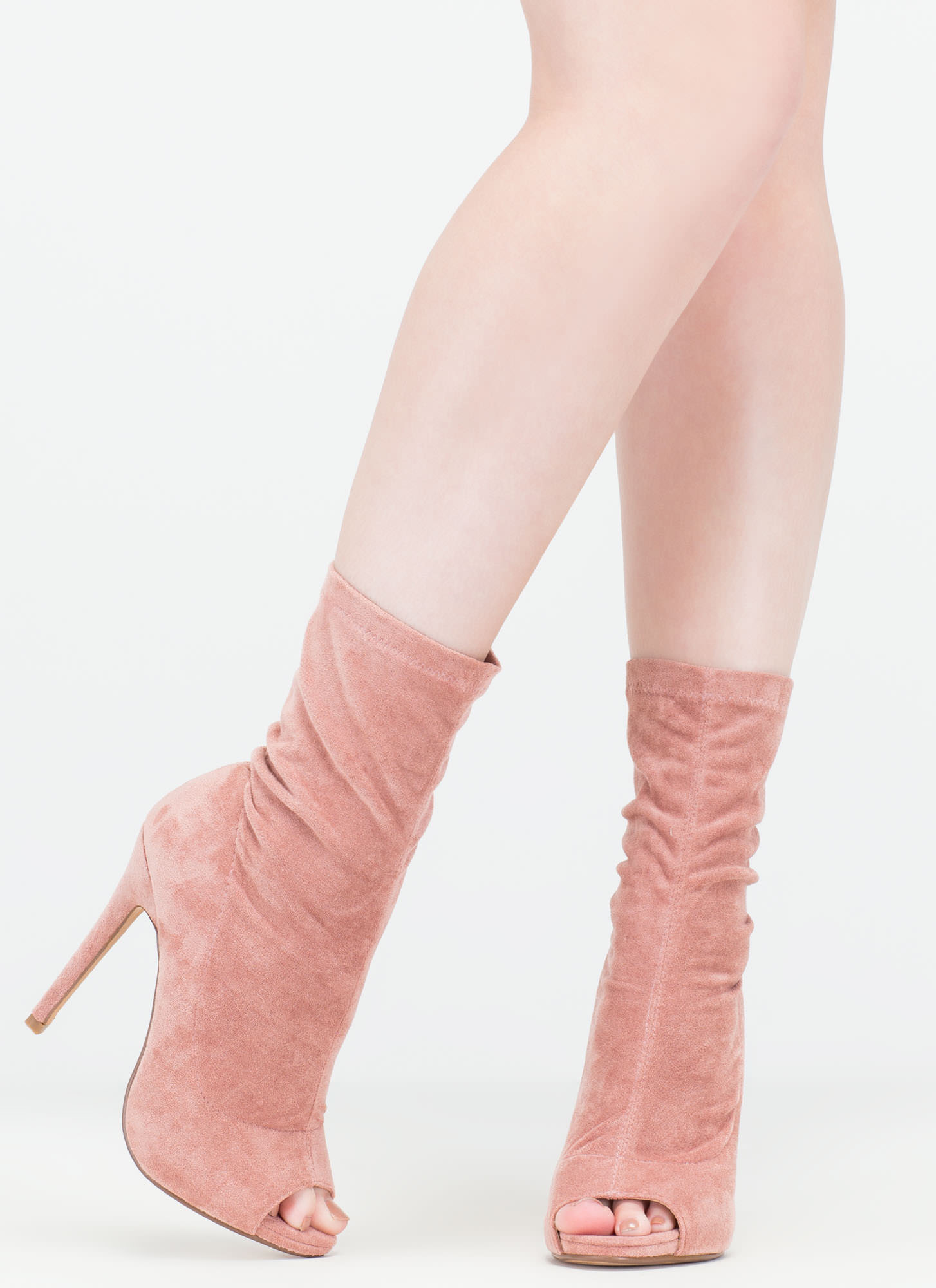 Step Out Faux Suede Peep-Toe Booties BLUSH