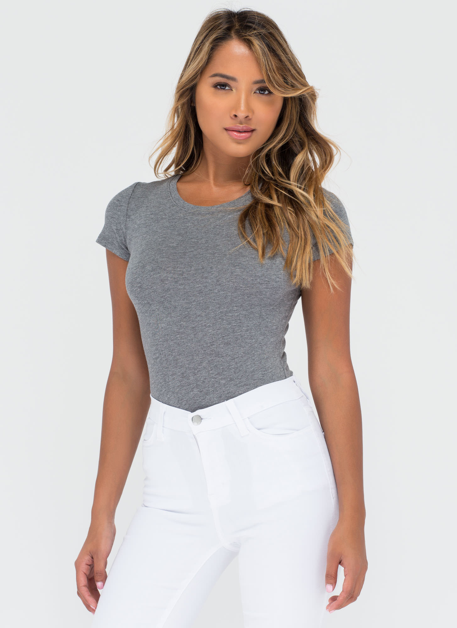 Casual Everyday T-Shirt Bodysuit HGREY
