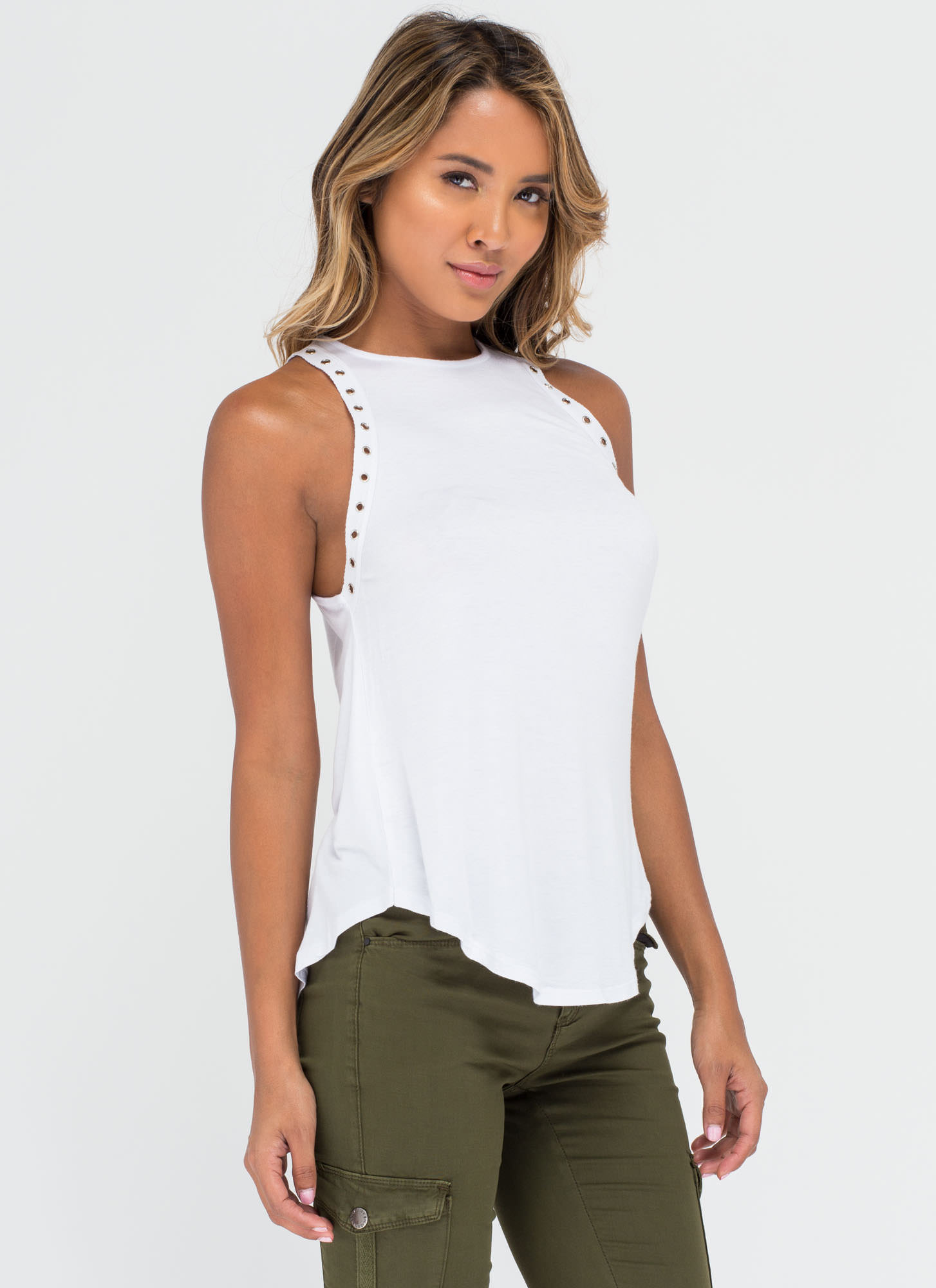 Punched Drunk Grommet Tank Top WHITE